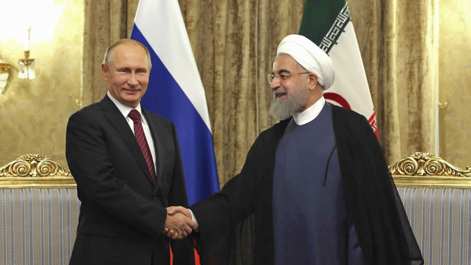 Iran's President Hassan Rouhani and Vladimir Putin will flex their muscles in the Middle East in 2019.Credit:AP
