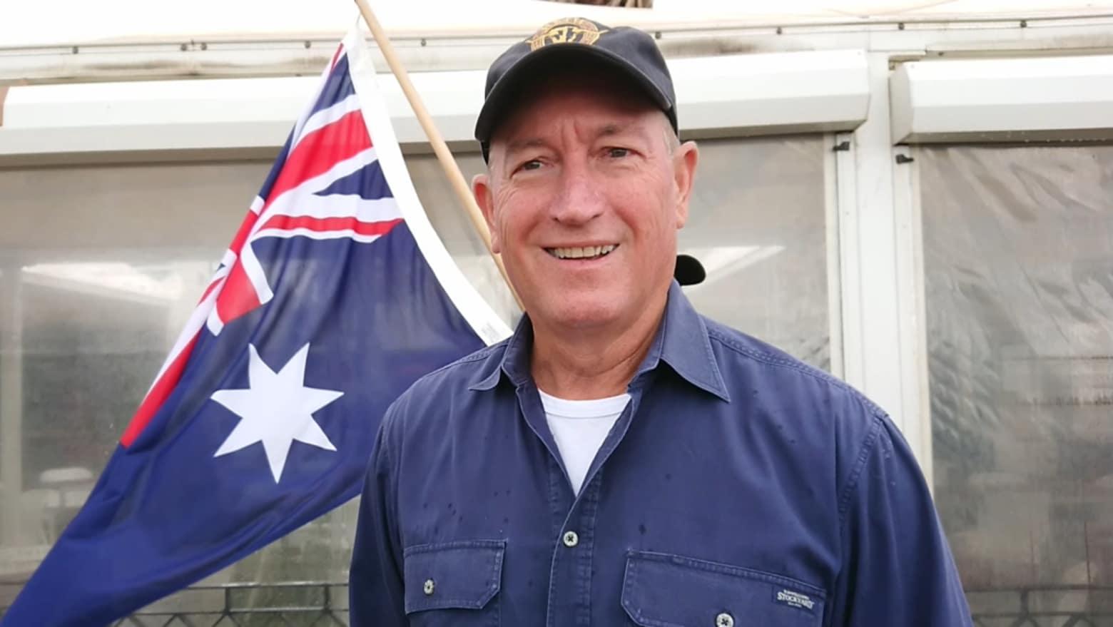 On the fringe: Queensland senator Fraser Anning at the St Kilda rally. Credit:AAP