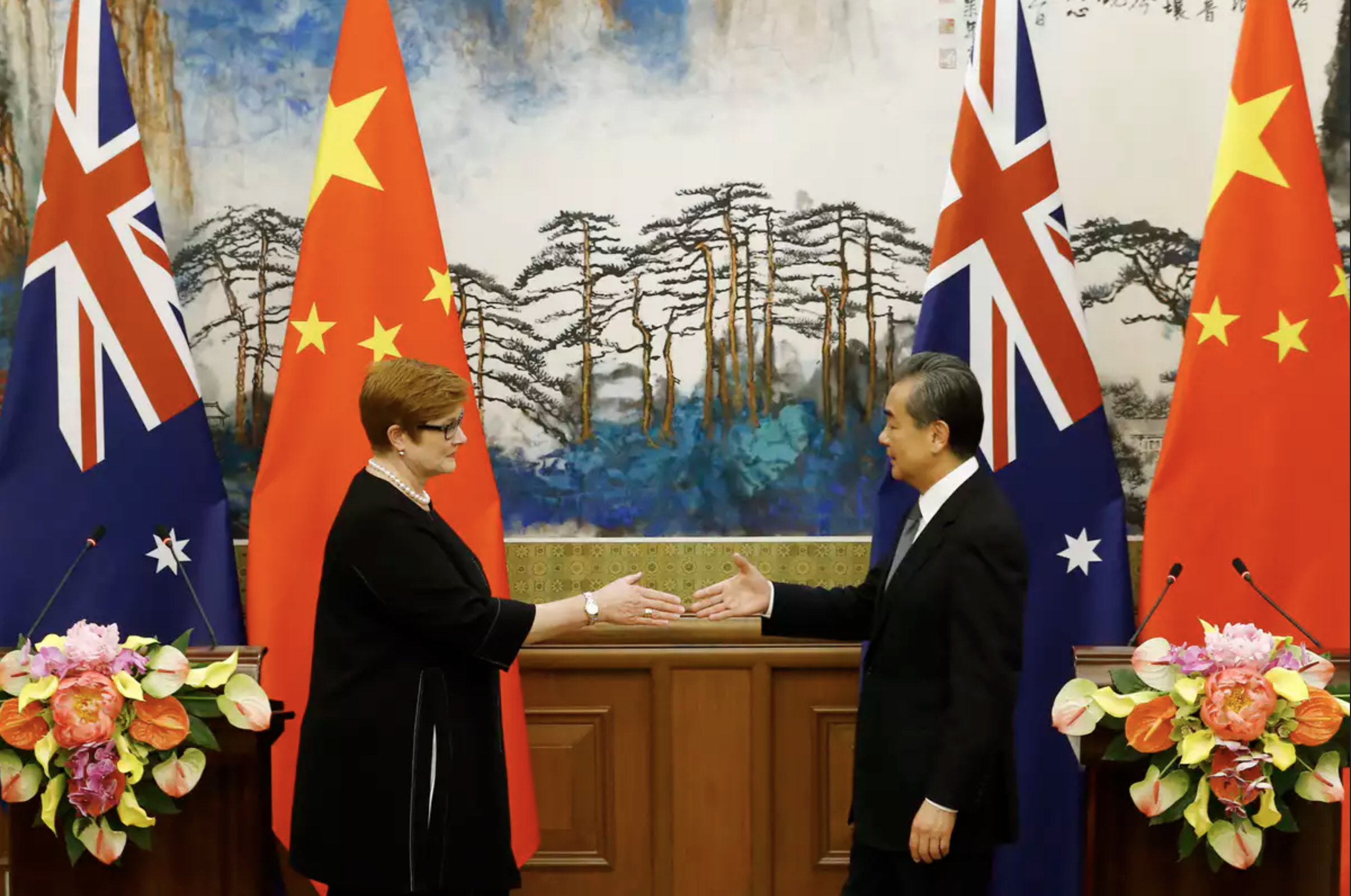 Foreign Minister Marise Payne meets Chinese Foreign Minister Wang Yi in Beijing in November 2018. AAP/EPA/Thomas Peter