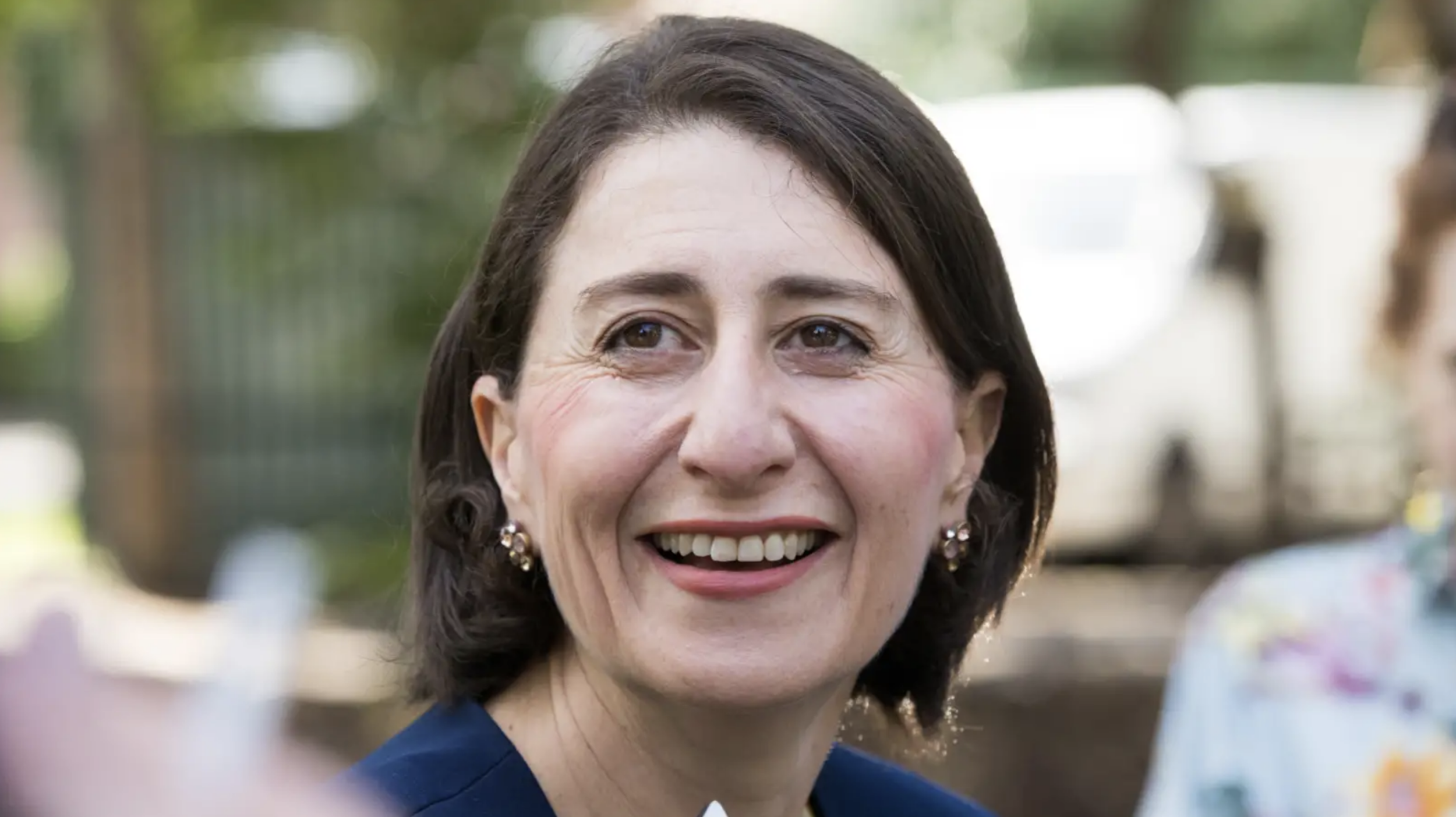 Premier Gladys Berejiklian at a press call on Sunday following her election victory. Credit:Edwina Pickles