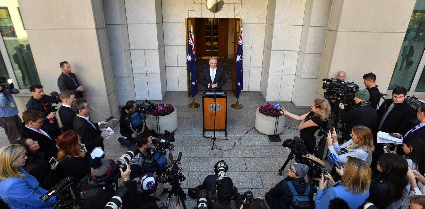 Prime Minister Scott Morrison announces the election at a press conference on April 11. The election campaign so far has thrown up many challenges for those covering it. AAP/Mick Tsikas