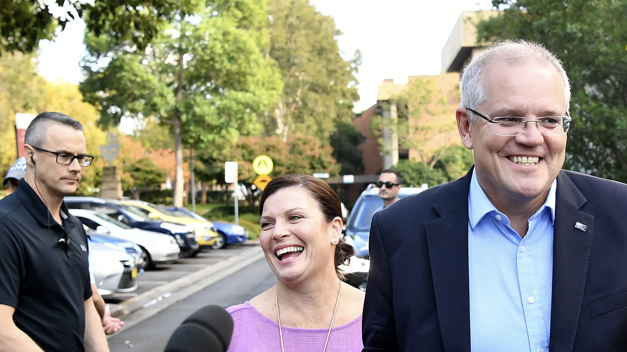 Prime Minister Scott Morrison and wife Jenny speak to the media as they arrive at the Horizon Church in Sutherland, Sydney, on Sunday.   Credit:Joel Carrett/AAP