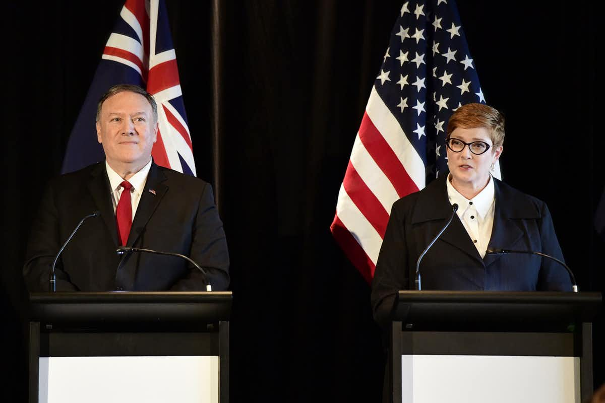 At the recent AUSMIN talks, US Secretary of State Mike Pompeo pushed for a harder-edged position on China. AAP/Bianca de Marchi