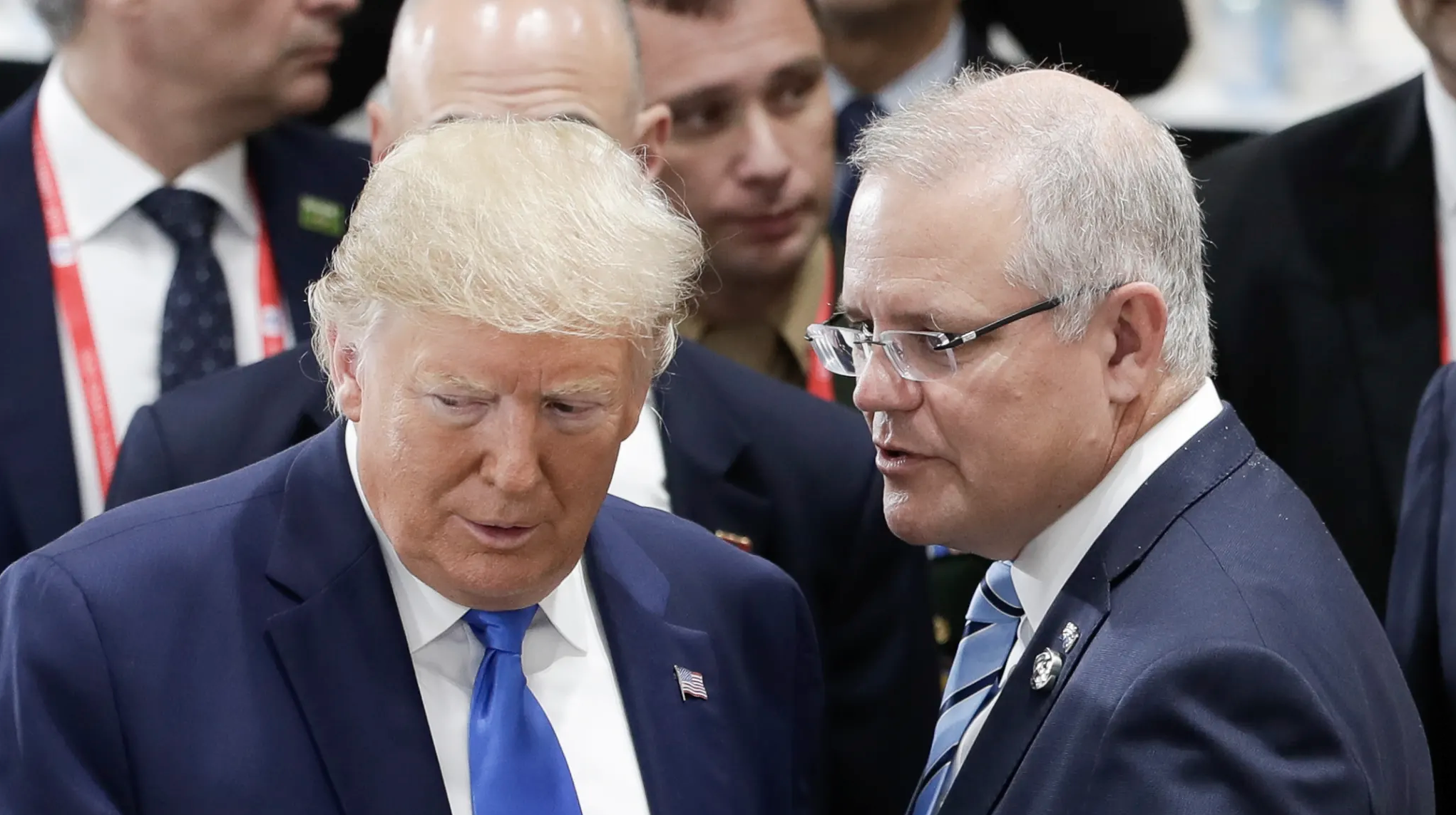 Donald Trump and Scott Morrison at the G20 Summit in Japan. Photo: Alex Ellinghausen