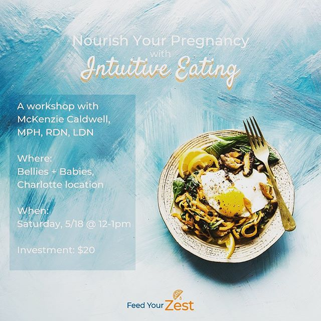 We all want a healthy pregnancy. . Join @feedyourzest here at b+b (Charlotte) tomorrow from 12-1P for an engaging workshop on finding balanced ways to nourish your body + mind during #pregnancy. . Advanced registration is required. Sign up today    https://bit.ly/2HD5gWm . #bellies #belliesclt #charlotte #community #pregnancy #prenatal #education #prenataleducation #communitypartner #collaboration #feedyourbodyandmind #nutrition #intuitiveeating #nourishyourpregnancy