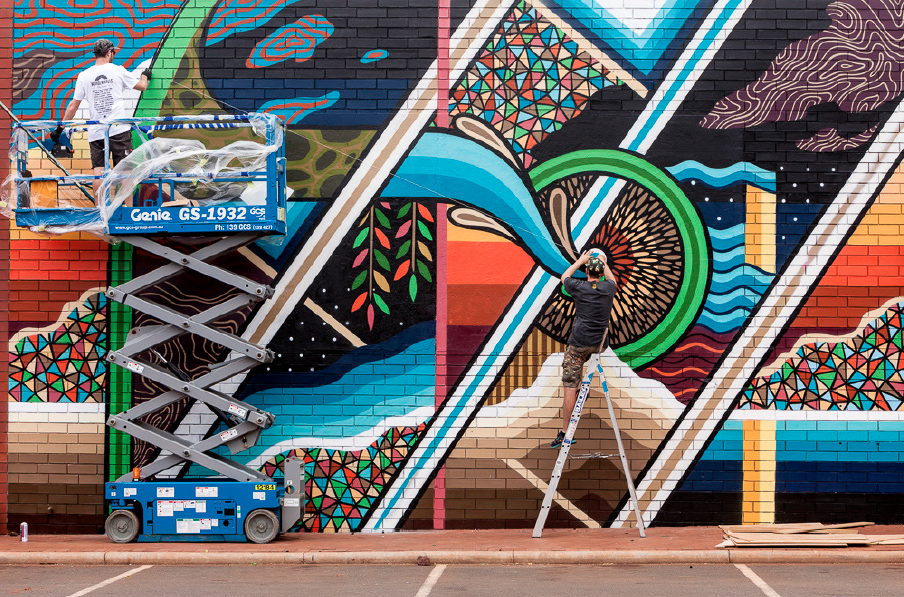 Mural installation in Port Hedland with  Vans The Omega