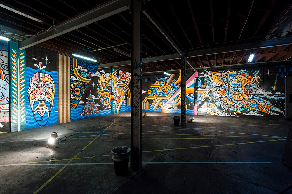 Garage mural installation with  Phibs
