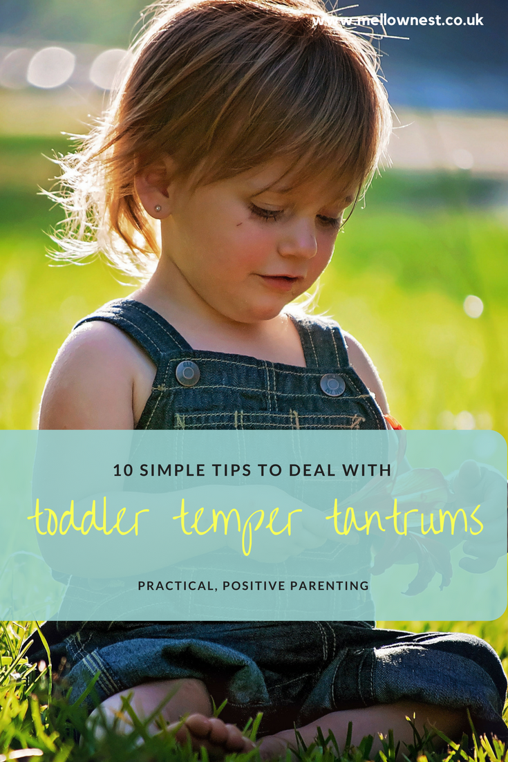 Pinterest pin. Child sitting in grass. 10 simple tips to deal with toddler temper tantrums.