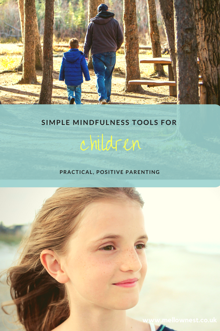 Pinterest pin. Child smiling. Child walking with parent. Simple mindfulness tools for children.