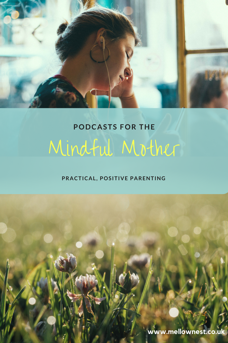 Pinterest pin. Woman listening to headphones. Podcasts for the mindful mother