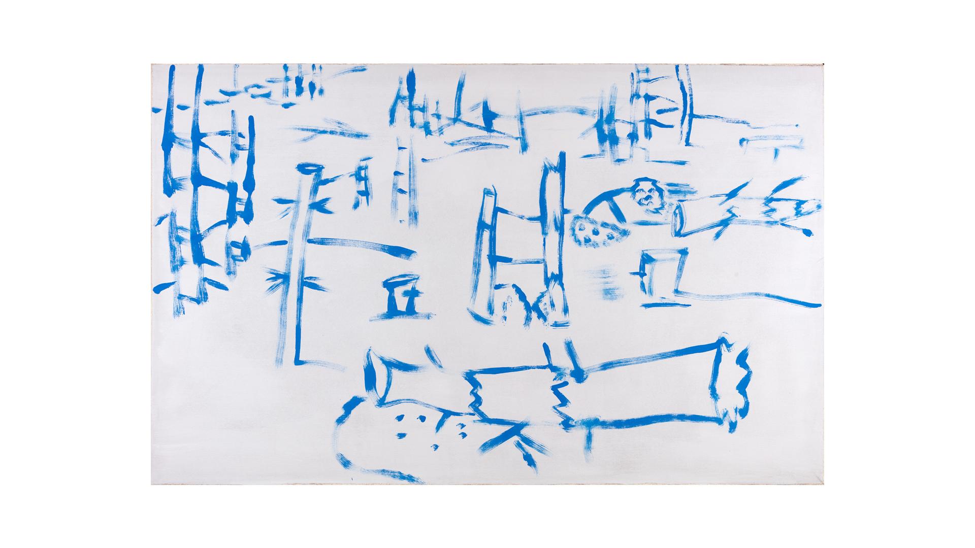 "Blue Wood 1 , 2017, oil on canvas, 40"" x 64"""