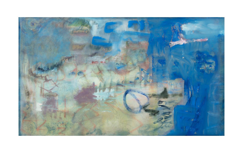 "Blue Landscape , 2017, oil, graphite and conte crayon on linen, 25 ¼"" x 43 ¼"""