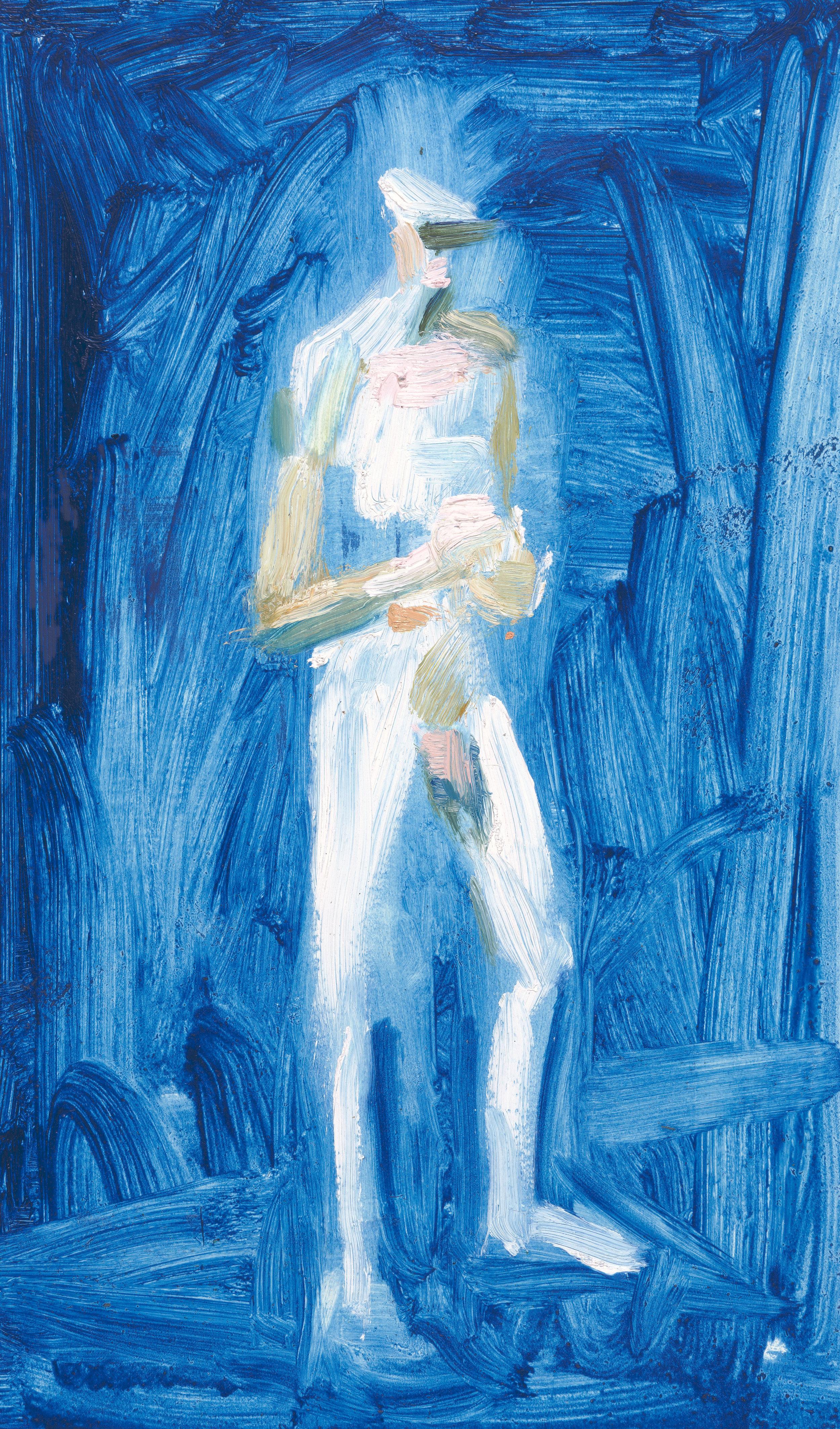 "Man I , 2015, oil on paper, 17"" x 11"""