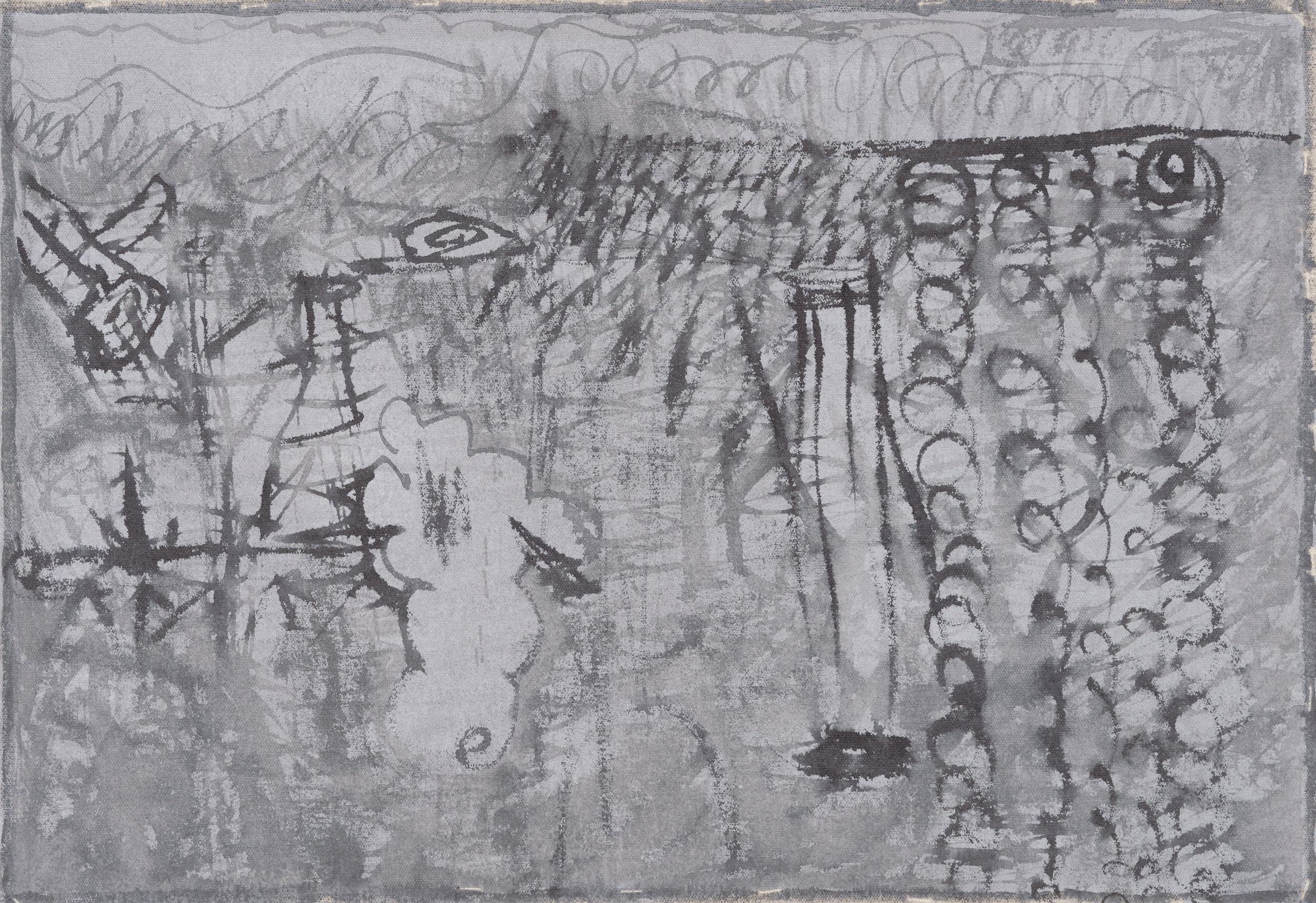"Ink Landscape II, 2016, ink on canvas, 18"" x 25 ½''"