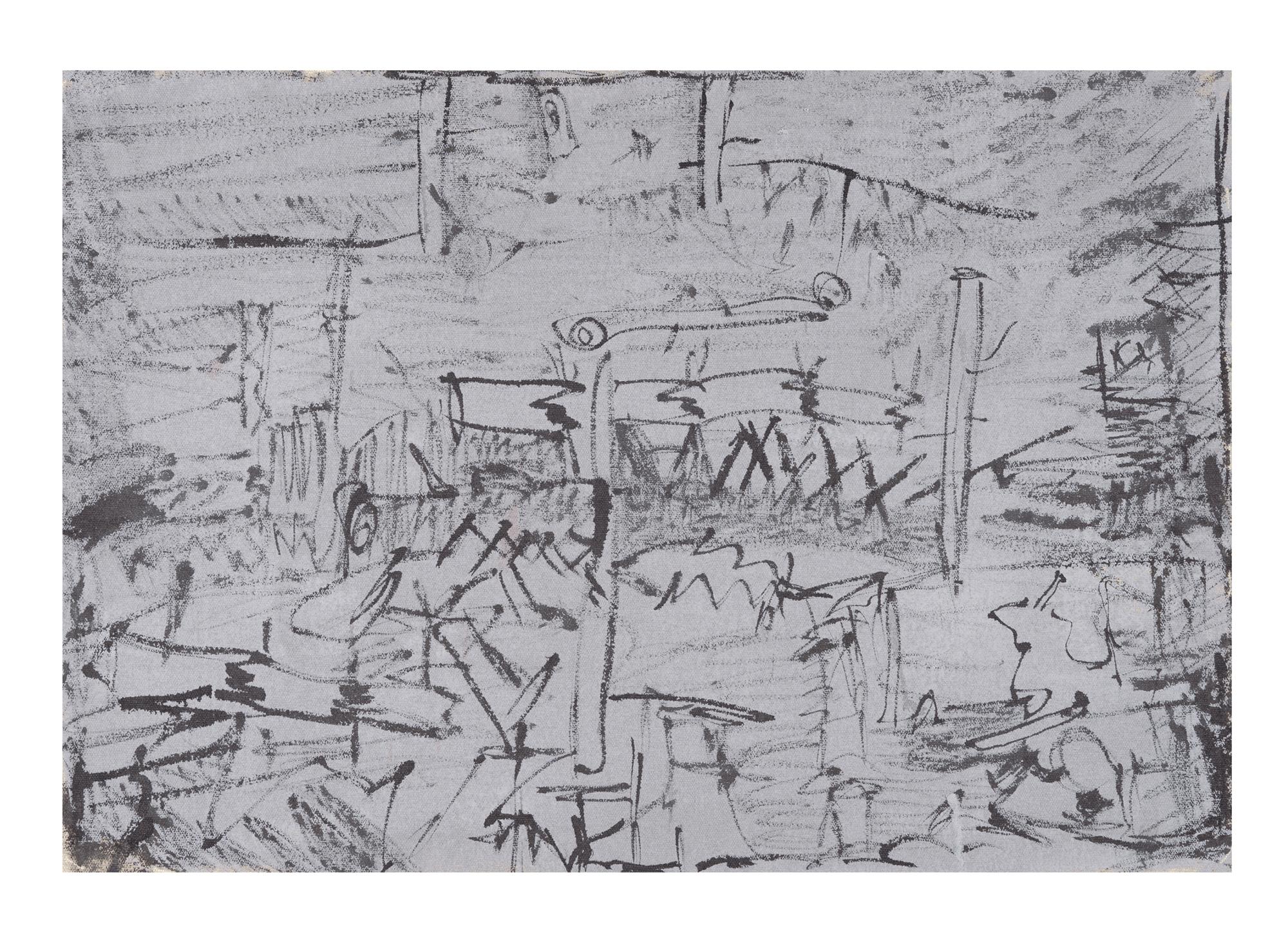 """Ink Landscape I , 2016, ink on canvas, 18"""" x 25 ½''"""