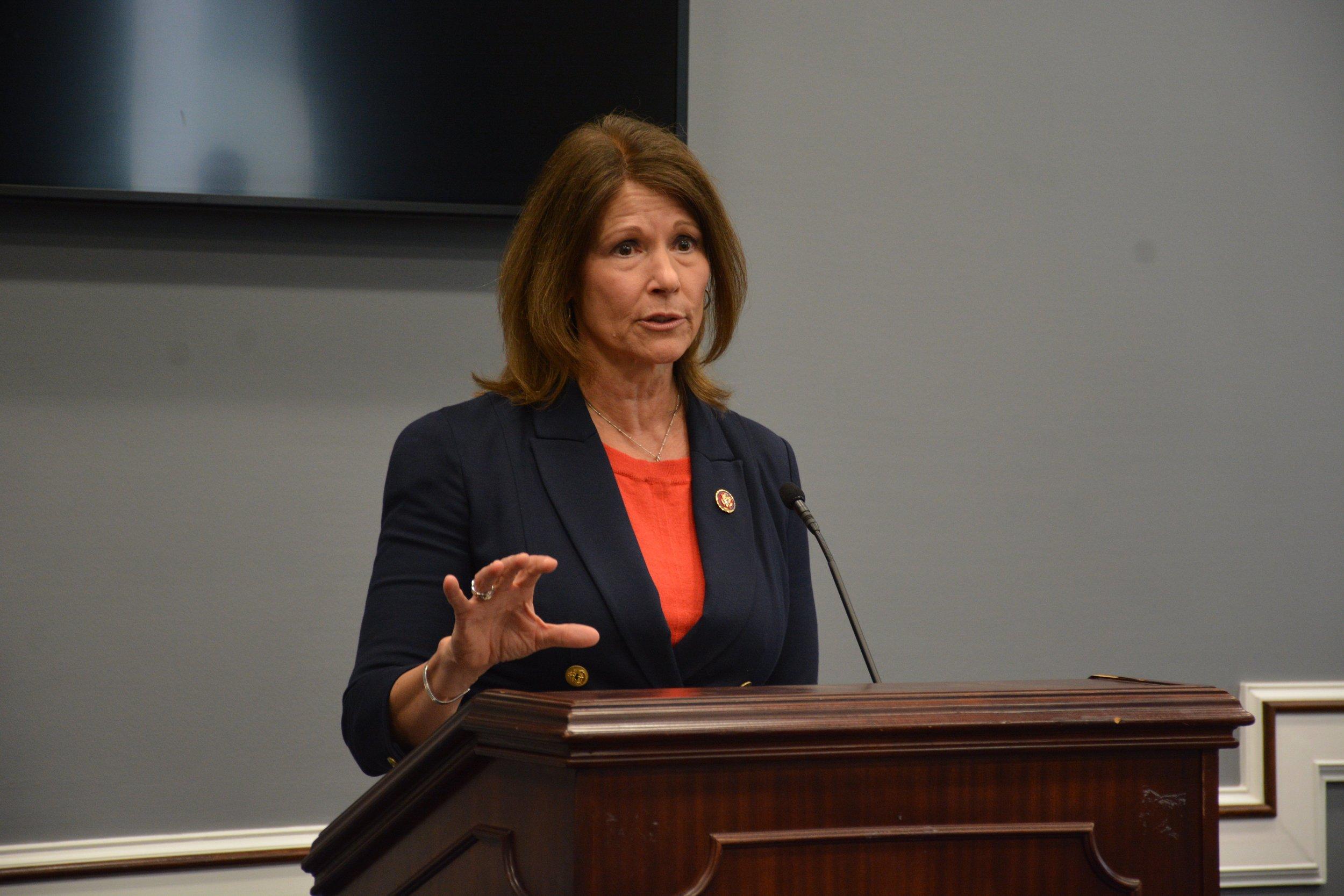Congresswoman Cheri Bustos (IL-17) introducing the bipartisan  Social Determinants Accelerator Act of 2019  (Source: bustos.house.gov)