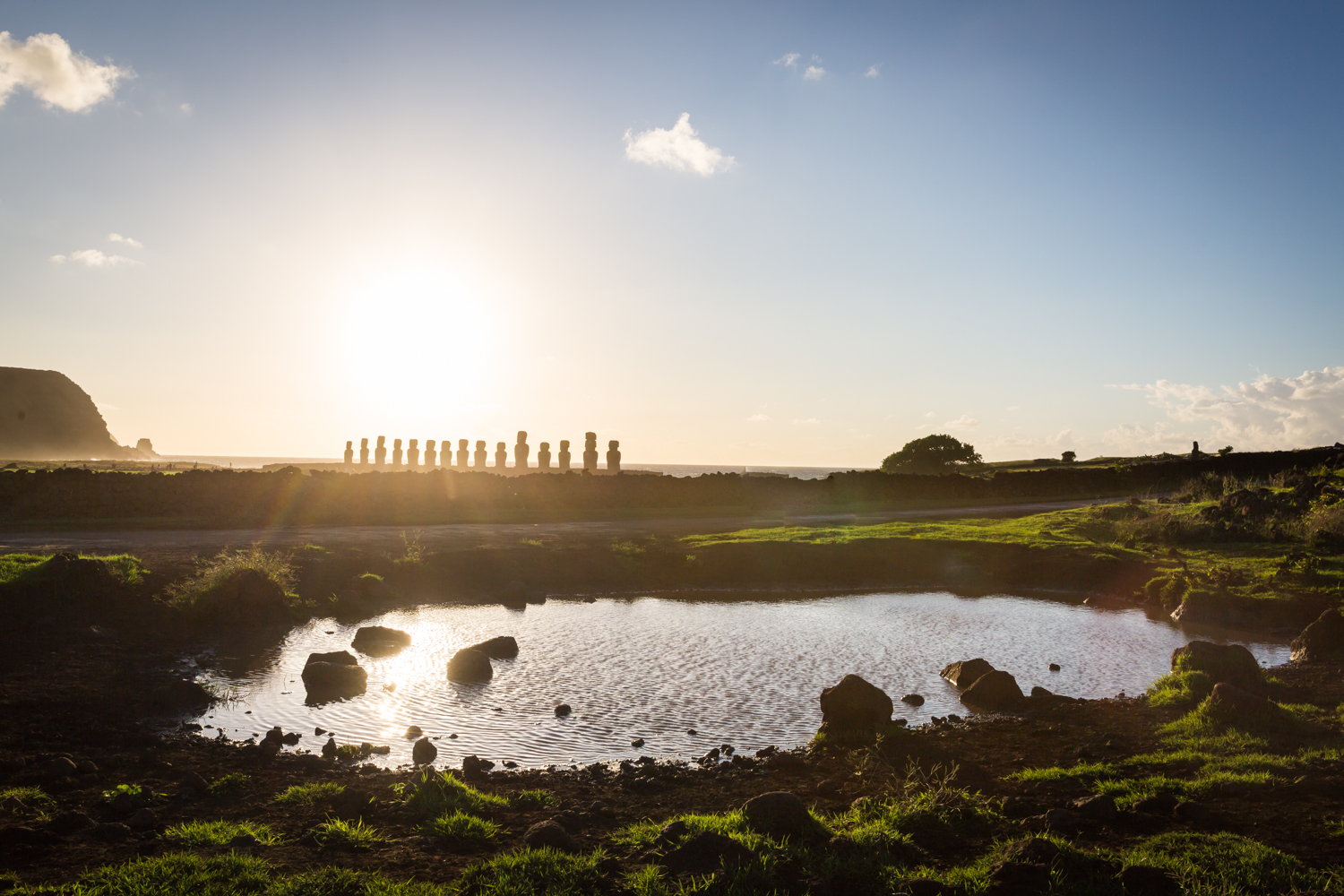 Easter Island moai heads at sunrise by NYC photojournalist, Kelly Williams