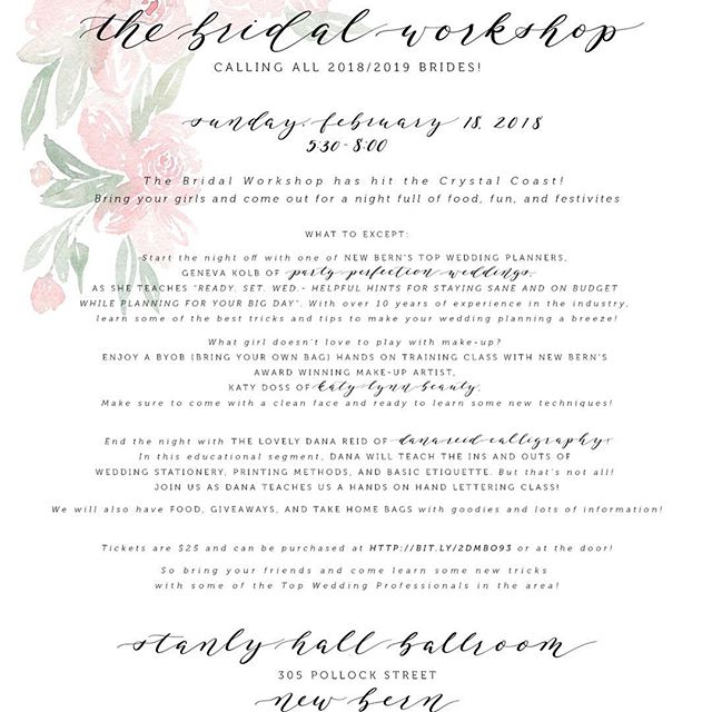 It's here!! The moment I've been so excited to share with you! Calling all 2018/2019 Brides! Ever wondered how to hand letter or how to budget properly for your big day? Or maybe you wish you could have a new fabulous look for your engagement pictures? Well look no further! Katy Lynn Beauty, @partyperfectionweddings  and @danareidcalligraphy are hosting A BRIDAL WORKSHOP on February 18th at Stanly Hall Ballroom! Spend time with @genevakolb as she teaches you tips and tricks on how to plan the perfect wedding and stay on budget! Next, enjoy a hands on BYOB (Bring your own bag and brush) make up class with Katy Lynn Beauty! In this segment you'll learn the basics to applying make up properly and how to achieve the perfect look! Lastly, Dana will go over proper stationary etiquette AND will instruct you on hand lettering basics! There will also be giveaways, food, and take home information from some of the top wedding professionals in the area! So grab your girlfriends and come to this special event! Tickets are limited and can be purchased for $25 in the link listed below! Just copy and paste it! 😍We hope to see you there!! 💕 https://www.eventbrite.com/e/the-bridal-workshop-tickets-42105107510?aff=utm_source%3Deb_email%26utm_medium%3Demail%26utm_campaign%3Dnew_event_email&utm_term=eventurl_text