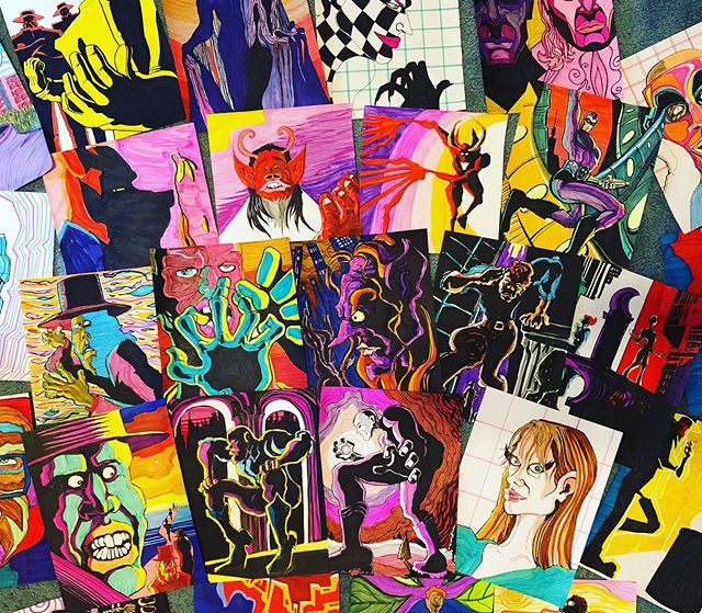 "Here's some of the drawings our lead singer @dantheteaclub did for those who preordered the special edition of our new album ""If/When"", which they will be receiving soon! 😄😄😄 ""If/When"" is available for streaming and purchase on our Bandcamp (link in our description) . . . #theteaclub #progrock #newalbum #music #band #tea #bandsofinstagram #psychedelicrock #indie #indieband #indiemusic #progressiverock #psychedelicart"