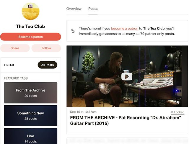 The Tea Club is also on Patreon, where we share stuff like unreleased songs, behind the scenes videos, live recordings, new demos, and artwork every month! We just posted a video of Pat recording a guitar part for our album Grappling from 2015! . Consider becoming a Patreon patron to get access to this and all kinds of other unreleased Tea Club material! You can sign up for only $1 a month (or more if you'd like)! . https://www.patreon.com/theteaclub . A great big THANK YOU to our beloved Patreon patrons for their support! ❤ . . . #theteaclub #progrock #newalbum #music #band #tea #bandsofinstagram #psychedelicrock #indie #indieband #indiemusic #patreon #artistsonpatreon
