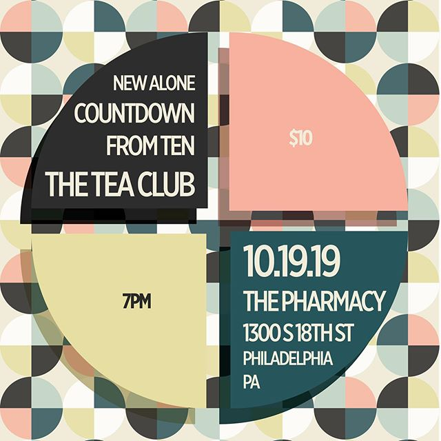 Philly! We're playing a show on October 19th at @thepharmacycoffee ! We're playing with @countdown.from.ten and @newalonemusic ! Tickets are $10! Be there! . . . #theteaclub #progrock #philly #philadelphia #music #psychedelicrock #indie #indieband #countdownfromten #newalone #thepharmacycoffee