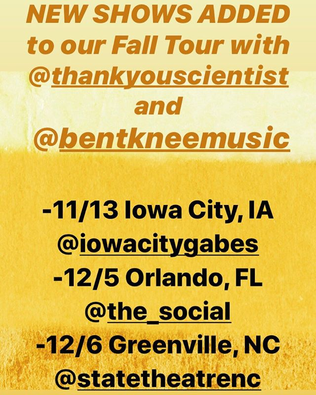 MORE SHOWS have been added to our tour with @thankyouscientist and @bentkneemusic , as well as a venue change for 12/6 in North Carolina! . -11/13 Iowa City, IA @iowacitygabes -12/5 Orlando FL @the_social -12/6 Greenville, NC @statetheatrenc *VENUE CHANGE . . . #theteaclub #progrock #music #bandsofinstagram #psychedelicrock #indie #indieband #bentknee #thankyouscientist #bandsontour