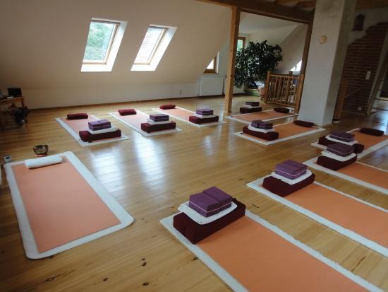 Ausrüstung - Yogamatten, Blöcke, Gurte und Kissen sind vorhanden.Wenn du deine eigene Matte mitbringen möchtest, dann tu das gern, da wir bei schönem Wetter draußen Yoga praktizieren werden.