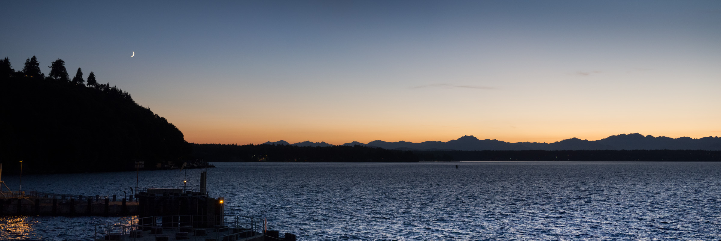 The Olympic Peninsula from the Vashon Ferry, 9:15pm, July 30.