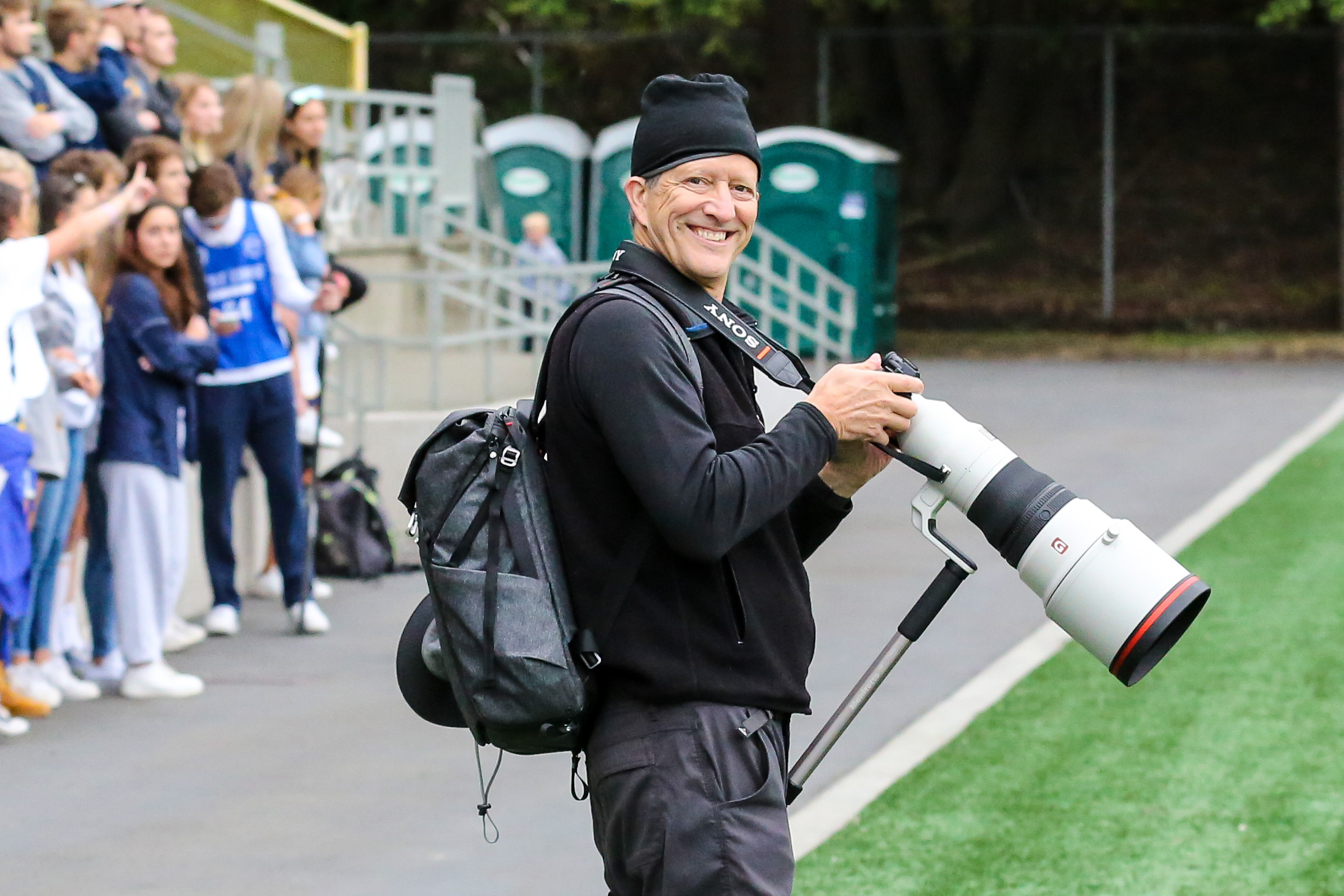 """Sony 400mm f/2.8. Also a plug for the Peak Design """"Everyday"""" 20L pack. Ignore honey buckets in the background. Photo courtesy Rick Edelman."""