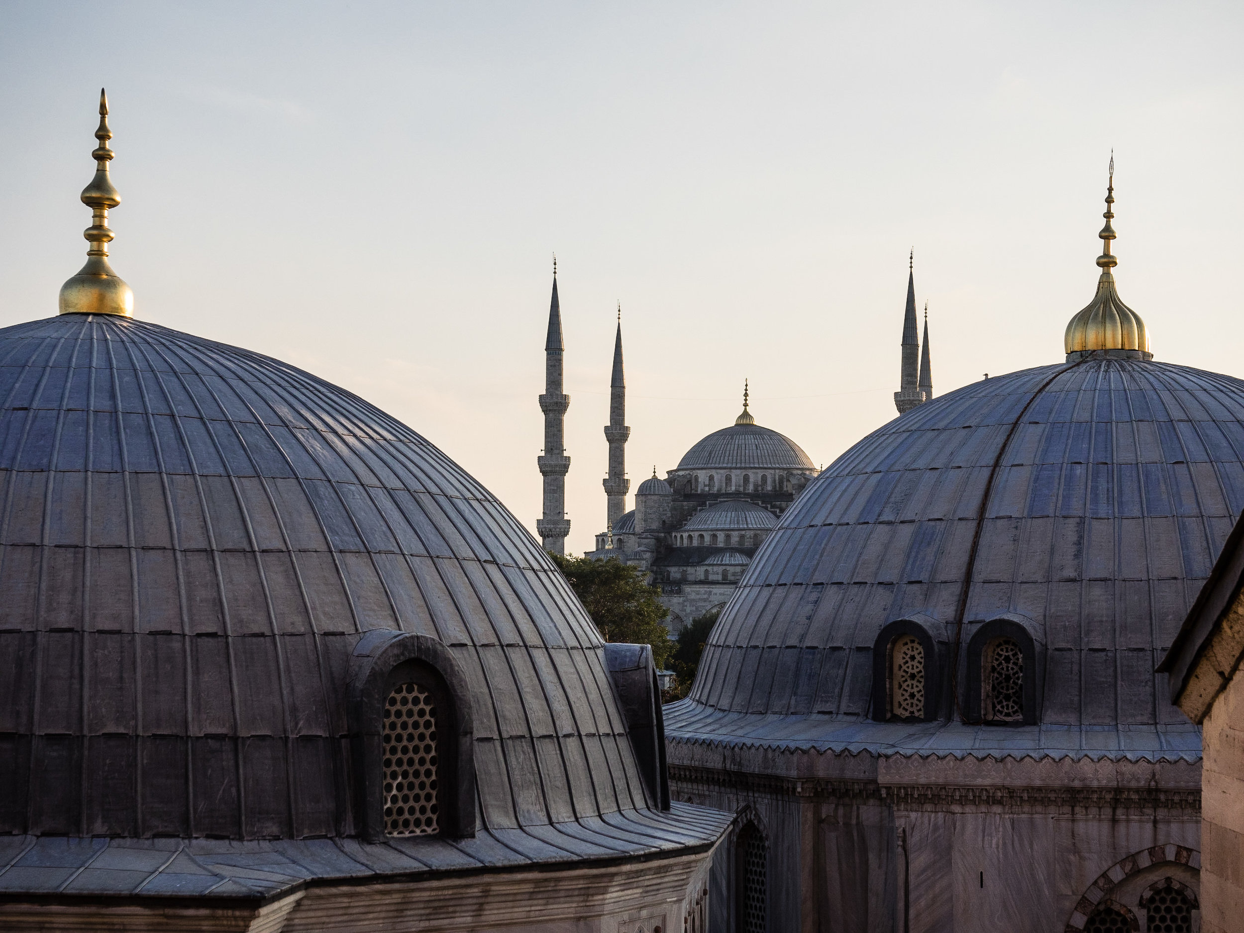 The Blue Mosque, as seen from the Aya Sofia, a former Greek Orthodox Church built in 532 then converted into a mosque during the Ottoman Imperial period.