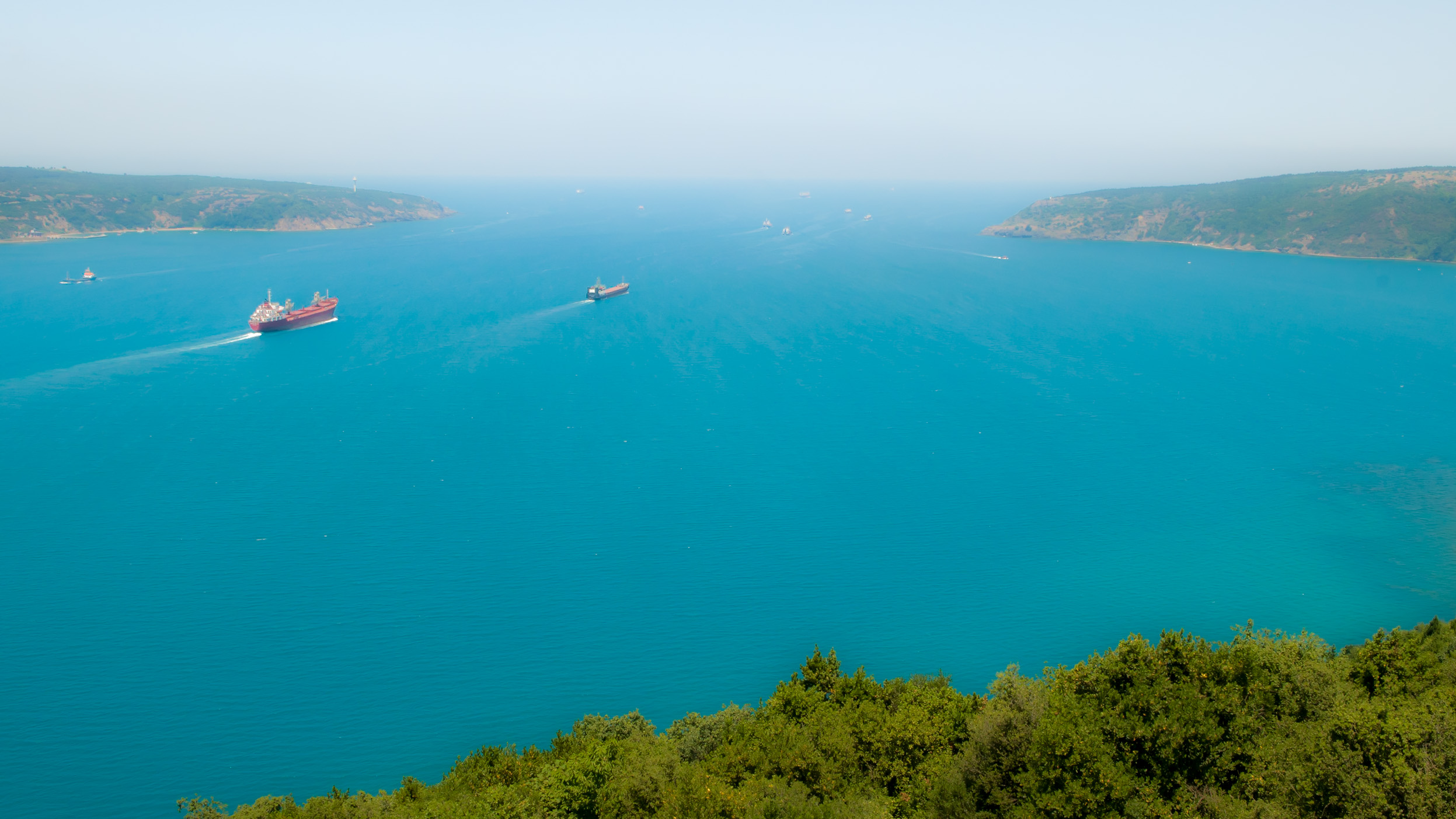 The Bosporus empties into the Black Sea. Left is Europe, right is Asia.