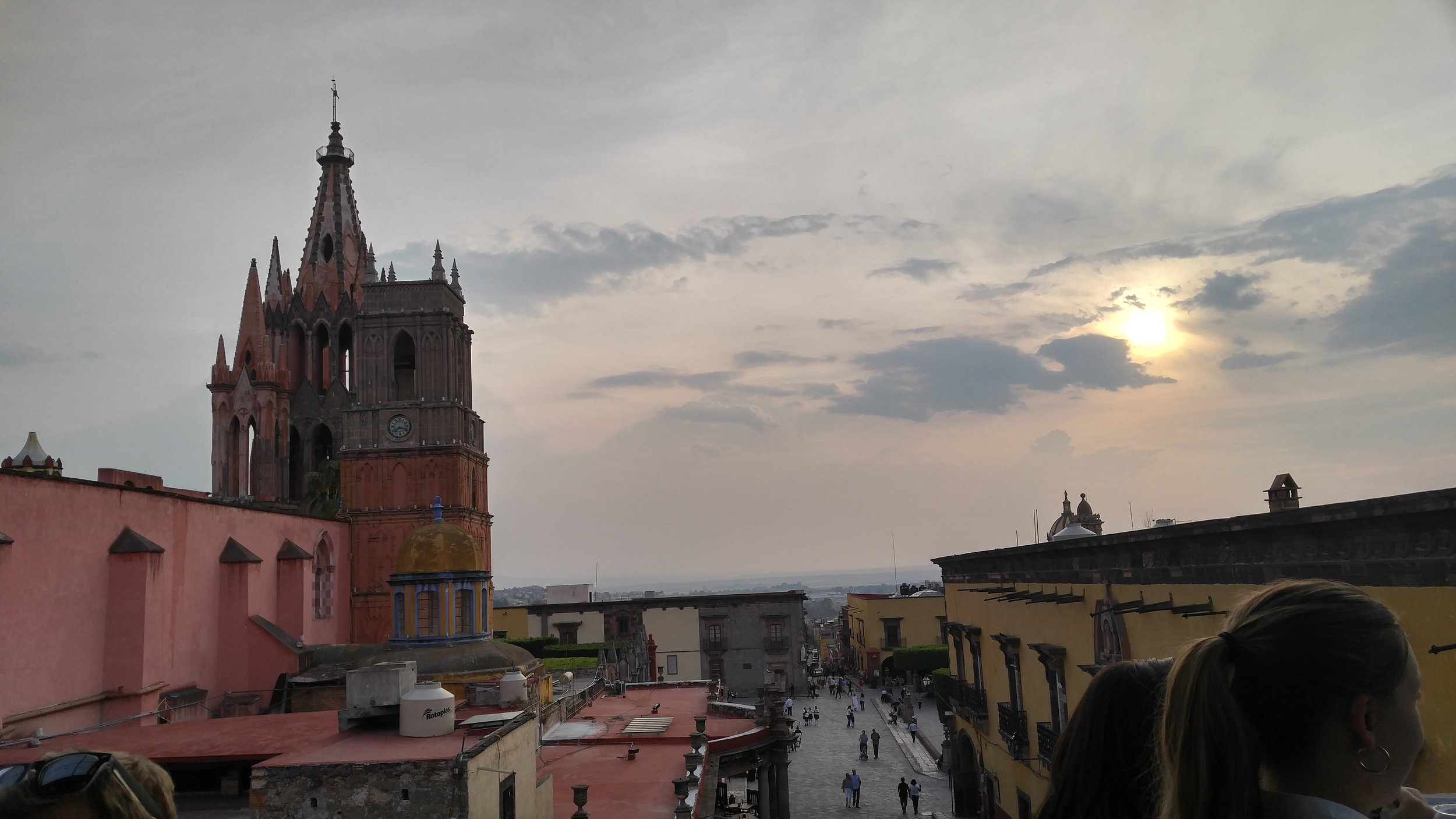 View of La Parroquia from the Cielo rooftop bar in SMA.