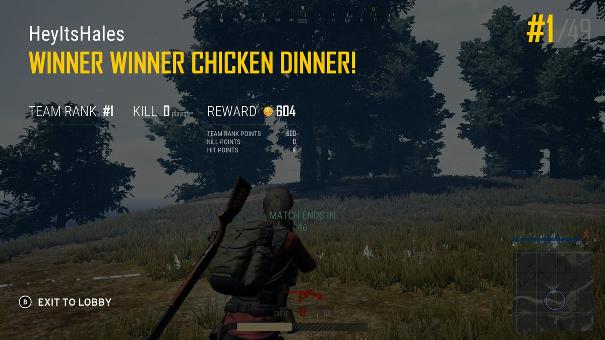 Getting a Chicken Dinner with zero kills is definitely possible.