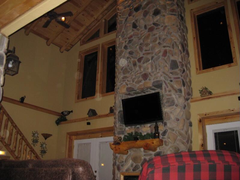 tonglen immersive retreat cabin interior fire place
