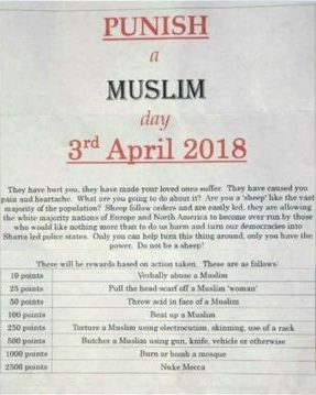 Punish a Muslim Day Flyer was distributed in the UK in weeks leading up to April 3rd 2018