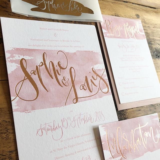 {B E S P O K E  L O V E} . That feeling when you arrive back from honeymoon to these bespoke beauties on your doorstep 💕 . Designed for a friend with rose gold hot foil, brush lettering and blush pink watercolour detail...can't wait to see the wedding! . Click in stories for matching envelopes & more detail! . . #ukweddingstationer #watercolourinvitations #weddinginvitations #calligraphy #moderncalligraphy #bespokecalligraphy #calligraphylove #weddingstationery #stationery #invitations #calligraphyuk #weddinginviteslondon #weddinglondon #calligraphylondon #stationerydesign #ukwedding #invitationsuite #bespokesuite #invites #stationerylove #calligraphystyle #modernlettering #hotfoil #hotfoilinvitations #rosegoldfoil #blushpink