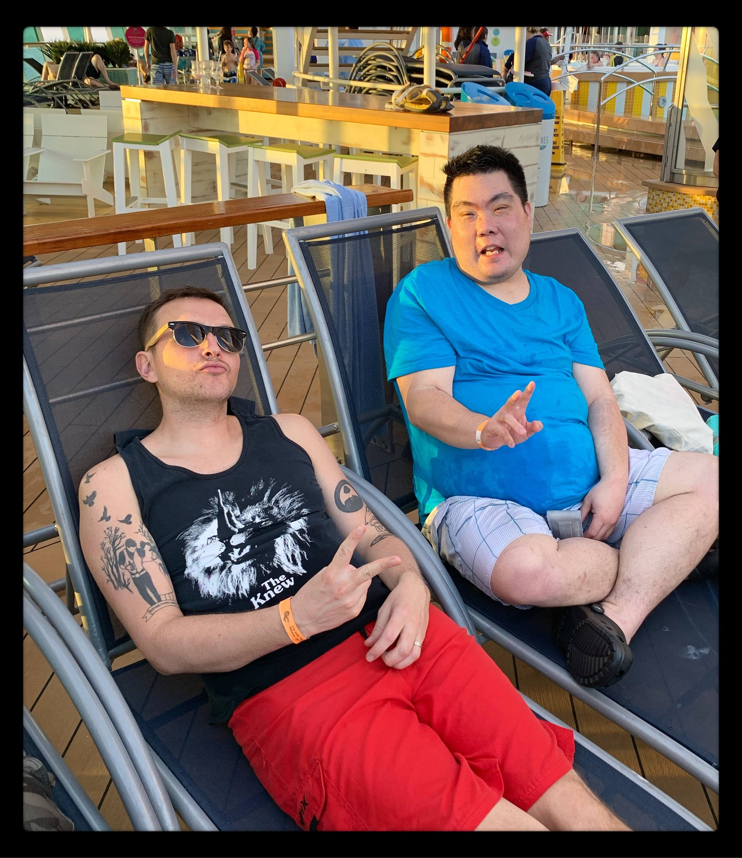 Andy and Nik, kicking it on the deck of the ship.