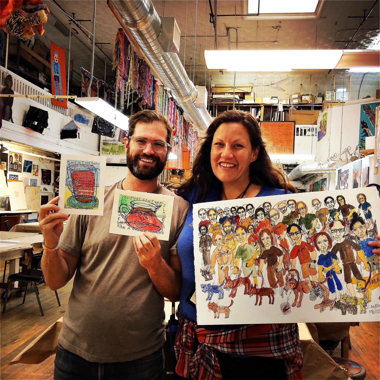 Dan and Andrea purchase original art at Creativity Explored in The Mission.