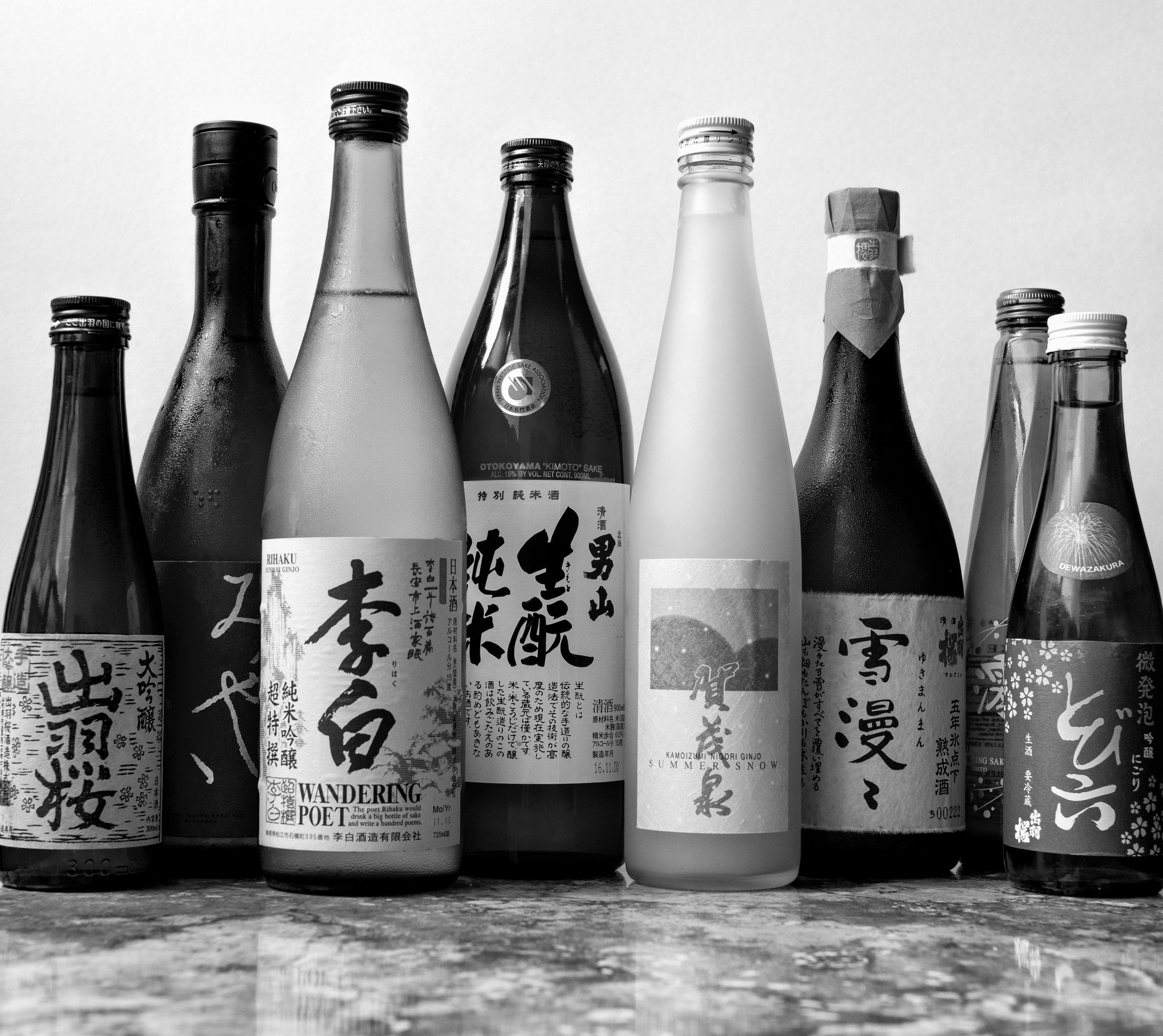Musings by the Glass - Sake Pairing Expansion - Sake Bottles (Black and White)