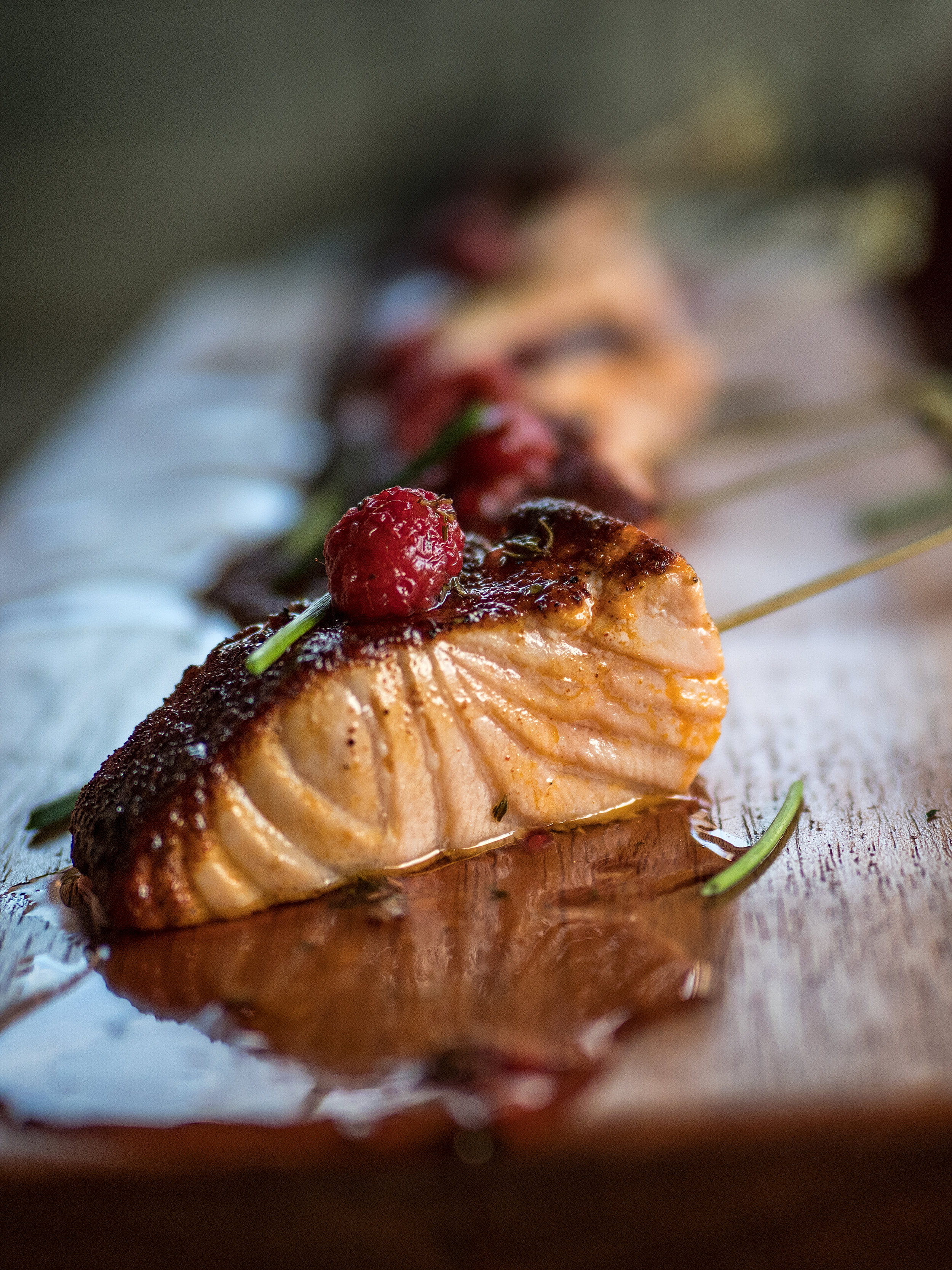 Musings by the Glass - Tips for Pairing Wine and Seafood - Torched Salmon with Barbecue Rub