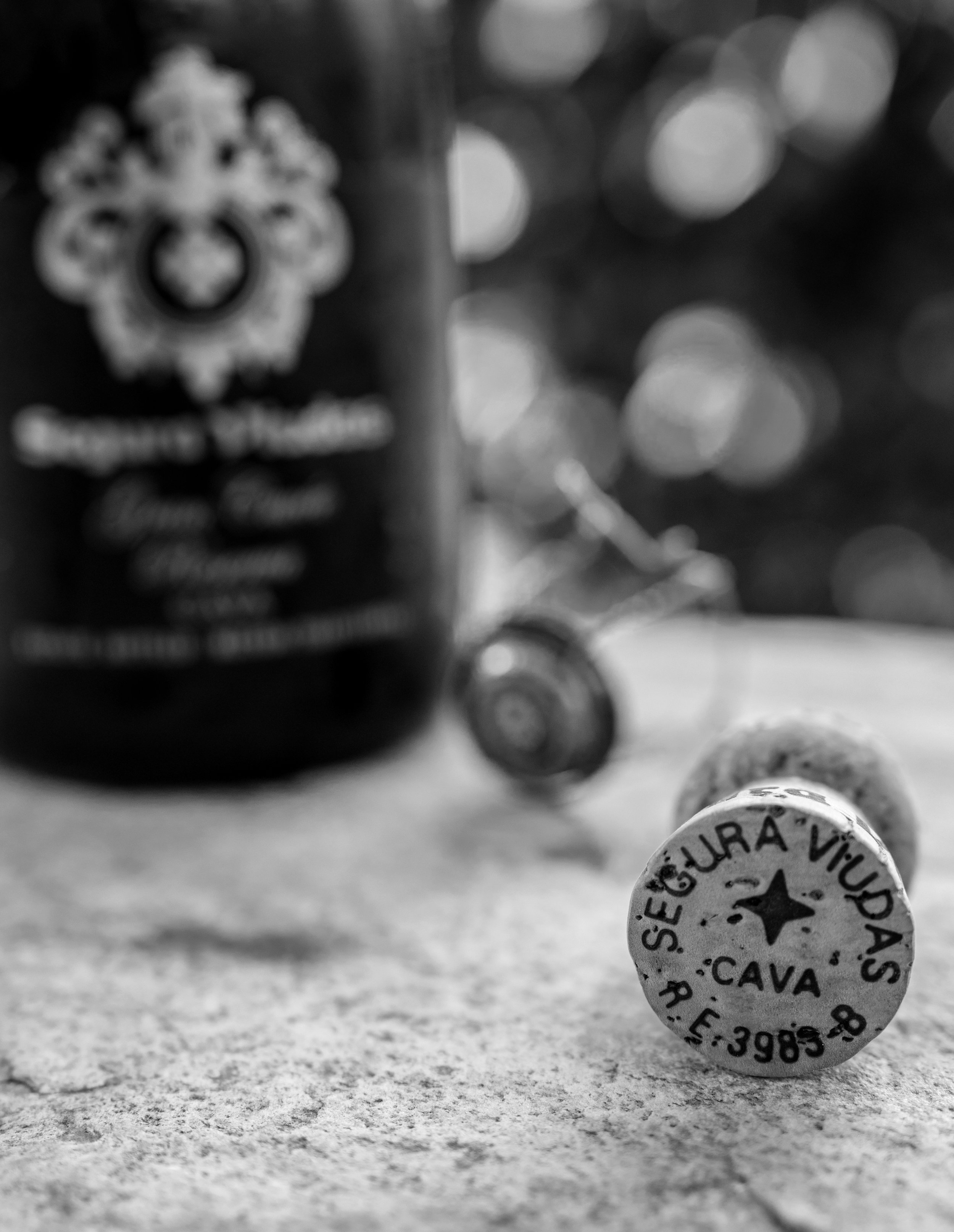 Musings by the Glass - Ode to Spanish Wine and Cheese - Spanish Cava Cork in Black and White