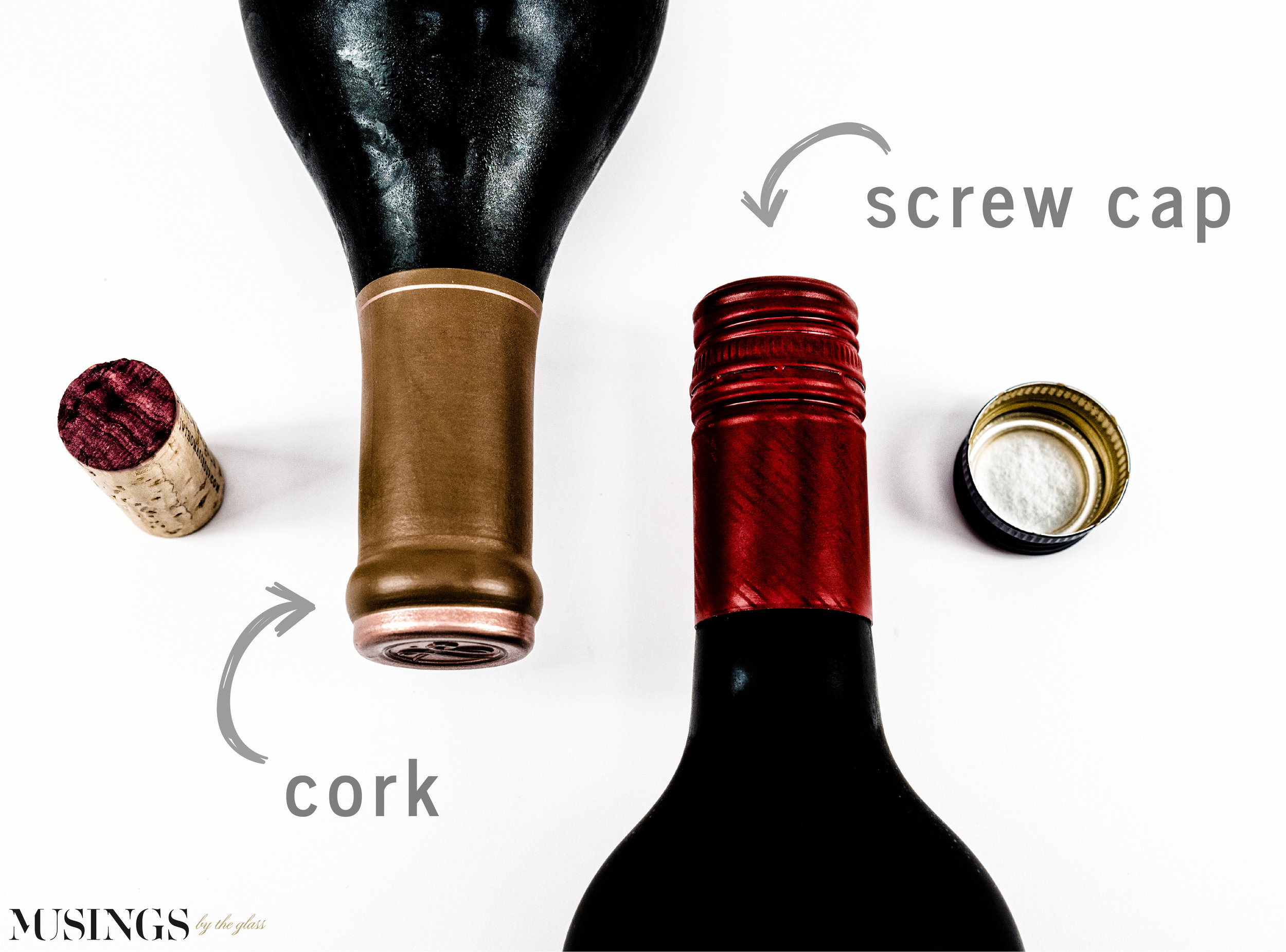 Musings by the Glass - Cork vs Screw Cap - Bottles and Cork and Screw Cap