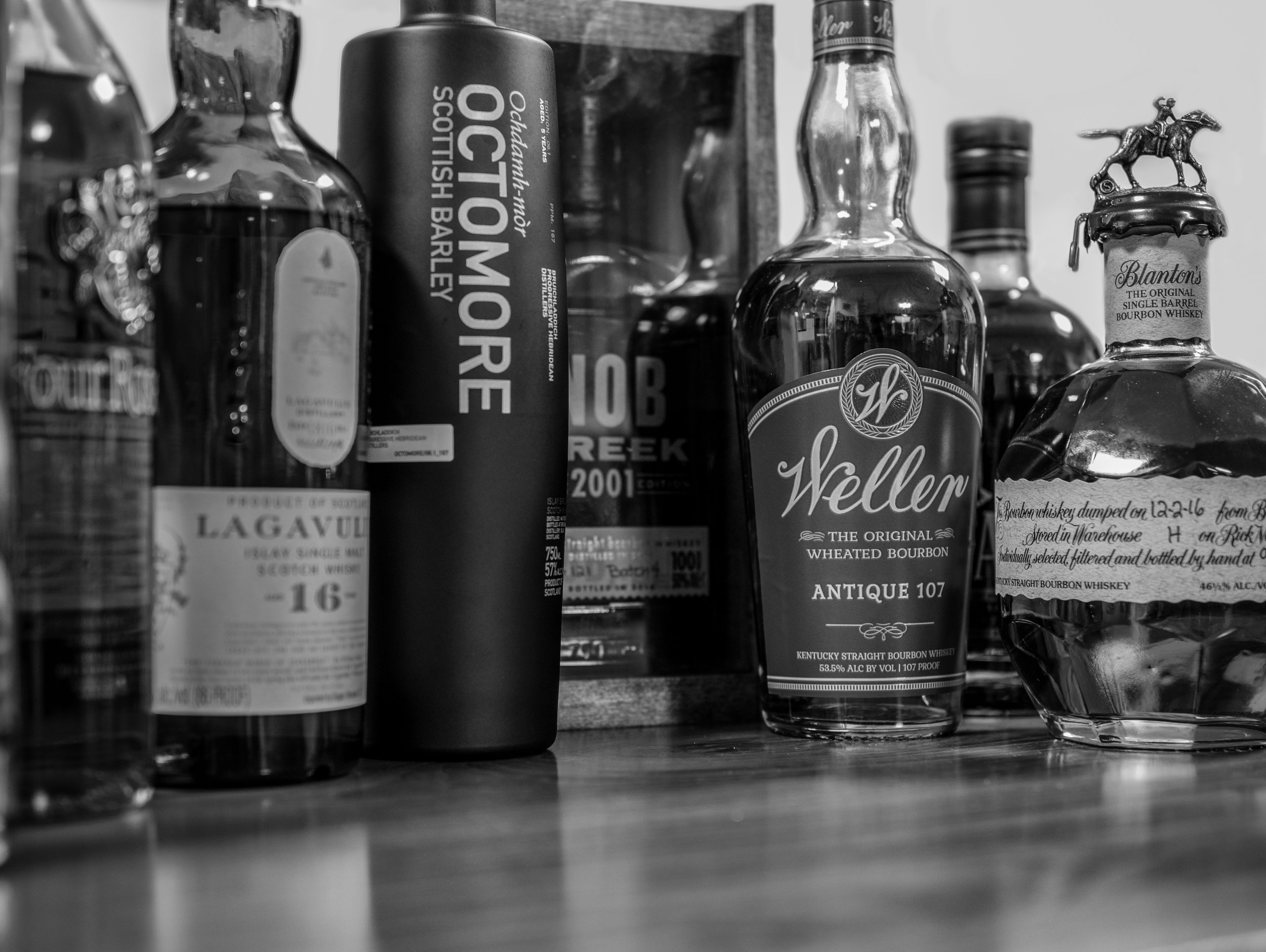 Musings by the Glass - Autumn Whiskey Primer - Black and White Whiskey Bottles