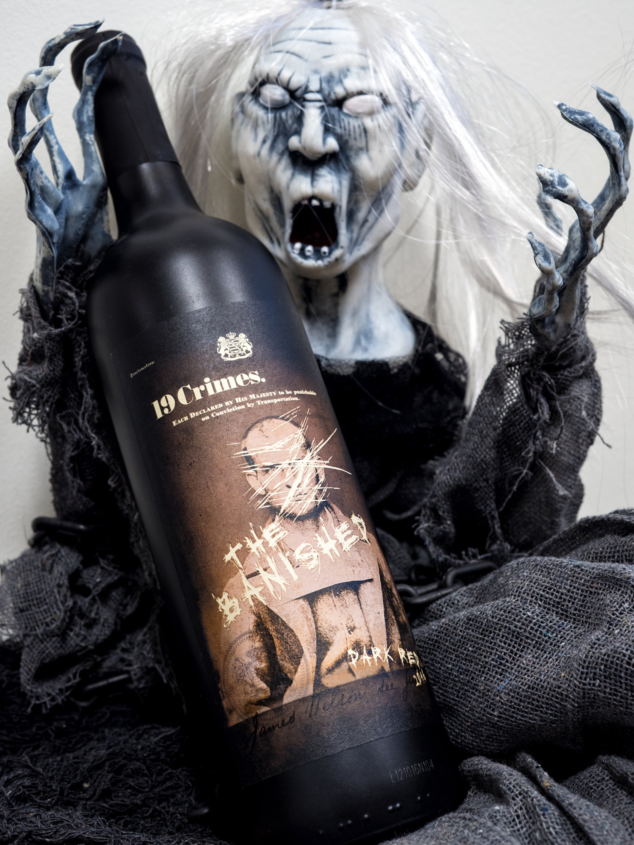 Musings by the Glass - Tips and Recommendations for Spooky Wines for your Halloween Party - 2016 Banished 19 Crimes Red Blend Southeastern Australia