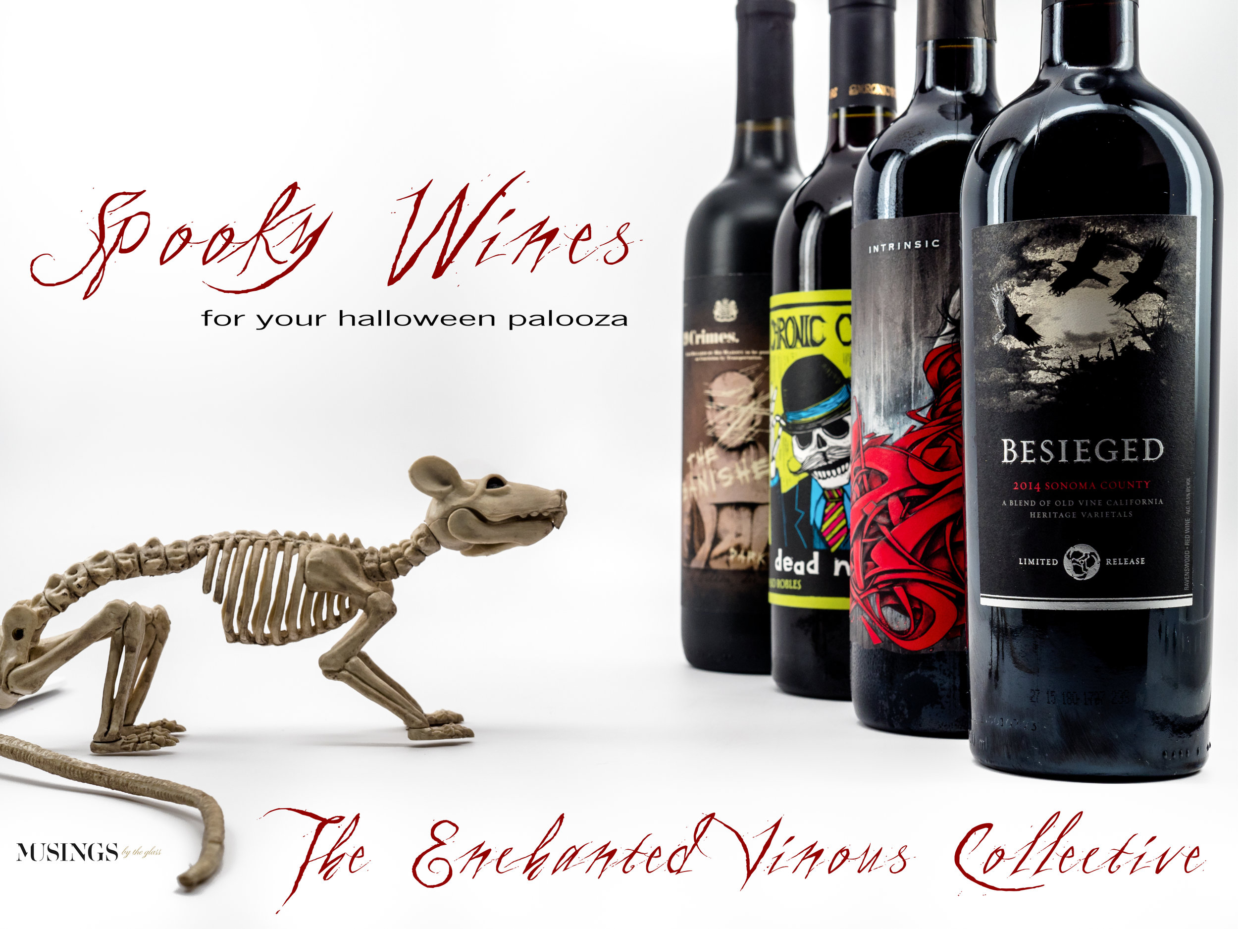 Musings by the Glass - Tips and Recommendations for Spooky Wines for your Halloween Party - Bottles with Rat Skeleton