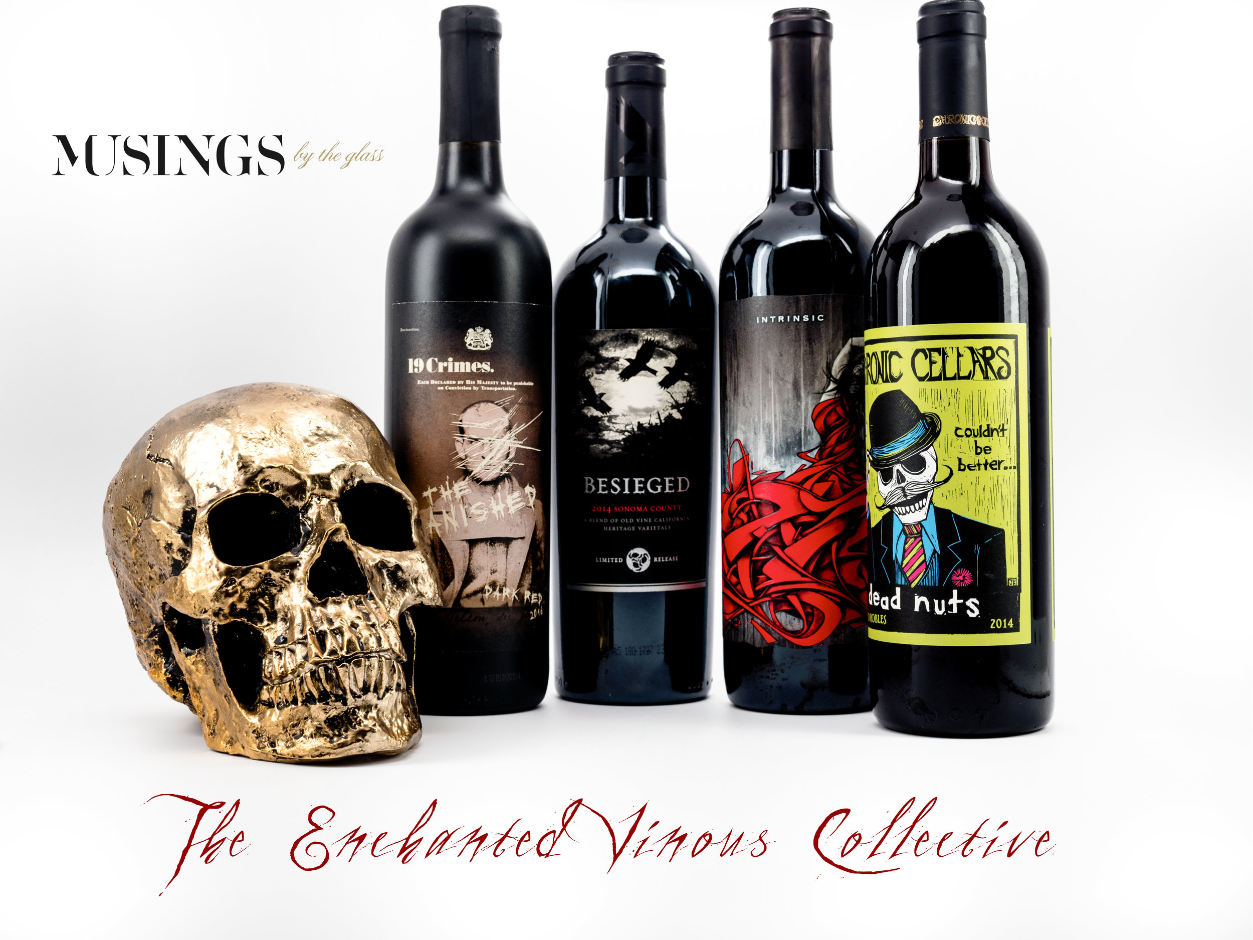 Musings by the Glass - Tips and Recommendations for Spooky Wines for your Halloween Party - Bottles with Skull