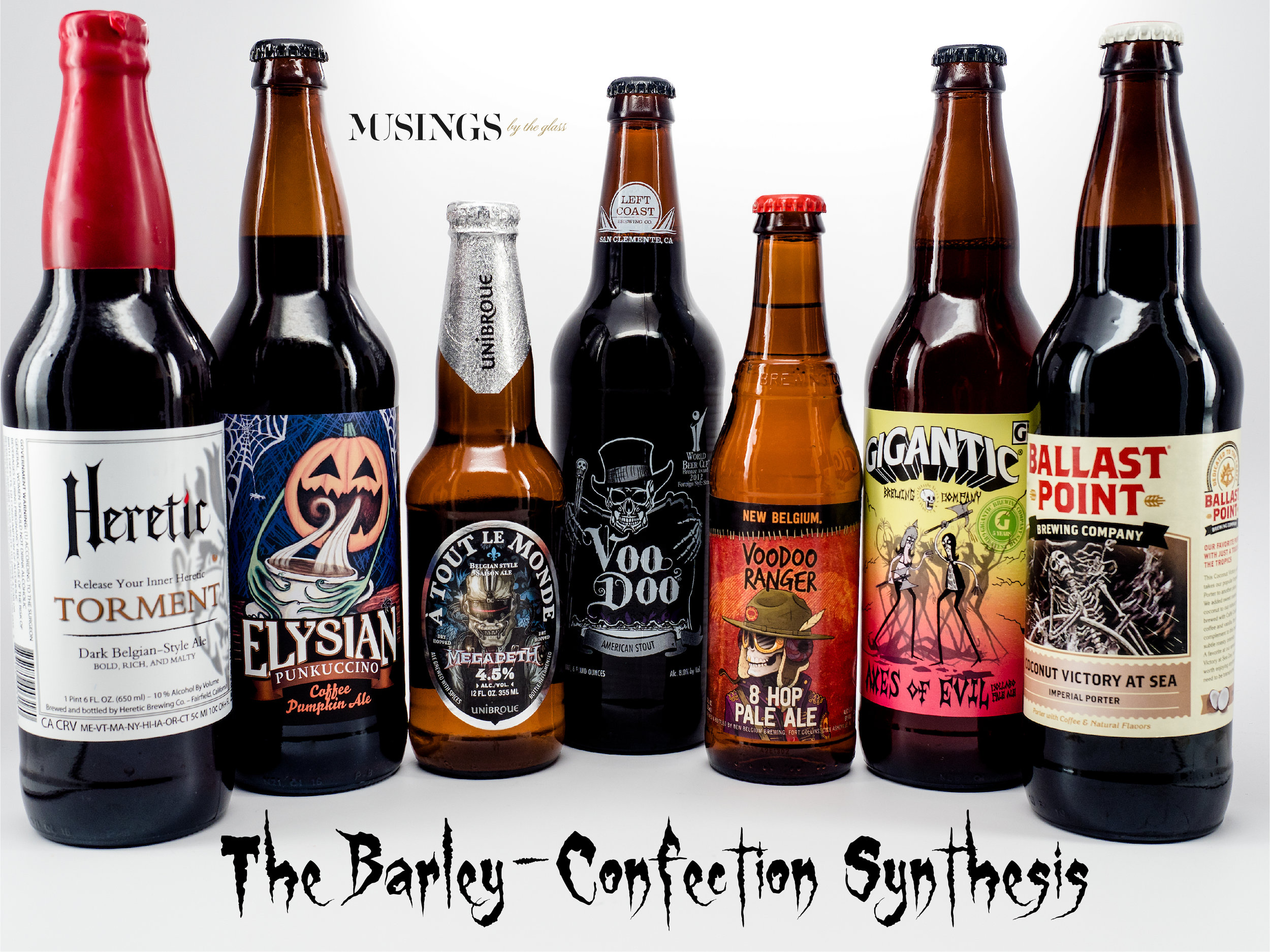 Musings by the Glass - Pairing Beer with Halloween Candy - Barley-Confection Synthesis Beer Lineup