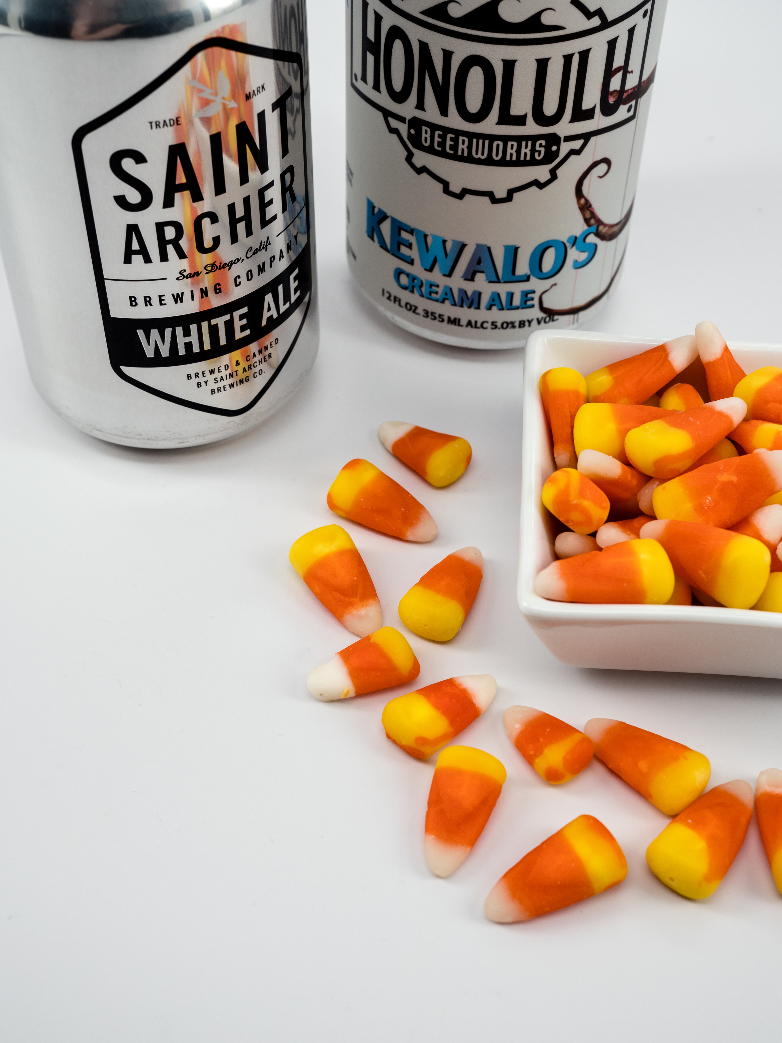 Musings by the Glass - Tips for Pairing Beer and Halloween Candy - Candy Corn and Saint Archer White Ale, Honolulu Beerworks Cream Ale