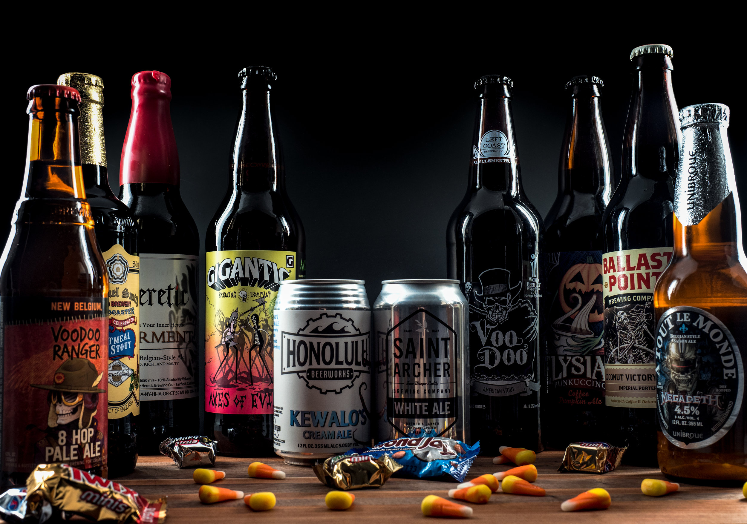 Musings by the Glass - Tips for Pairing Beer and Halloween Candy - Halloween Candy and Beer Lineup