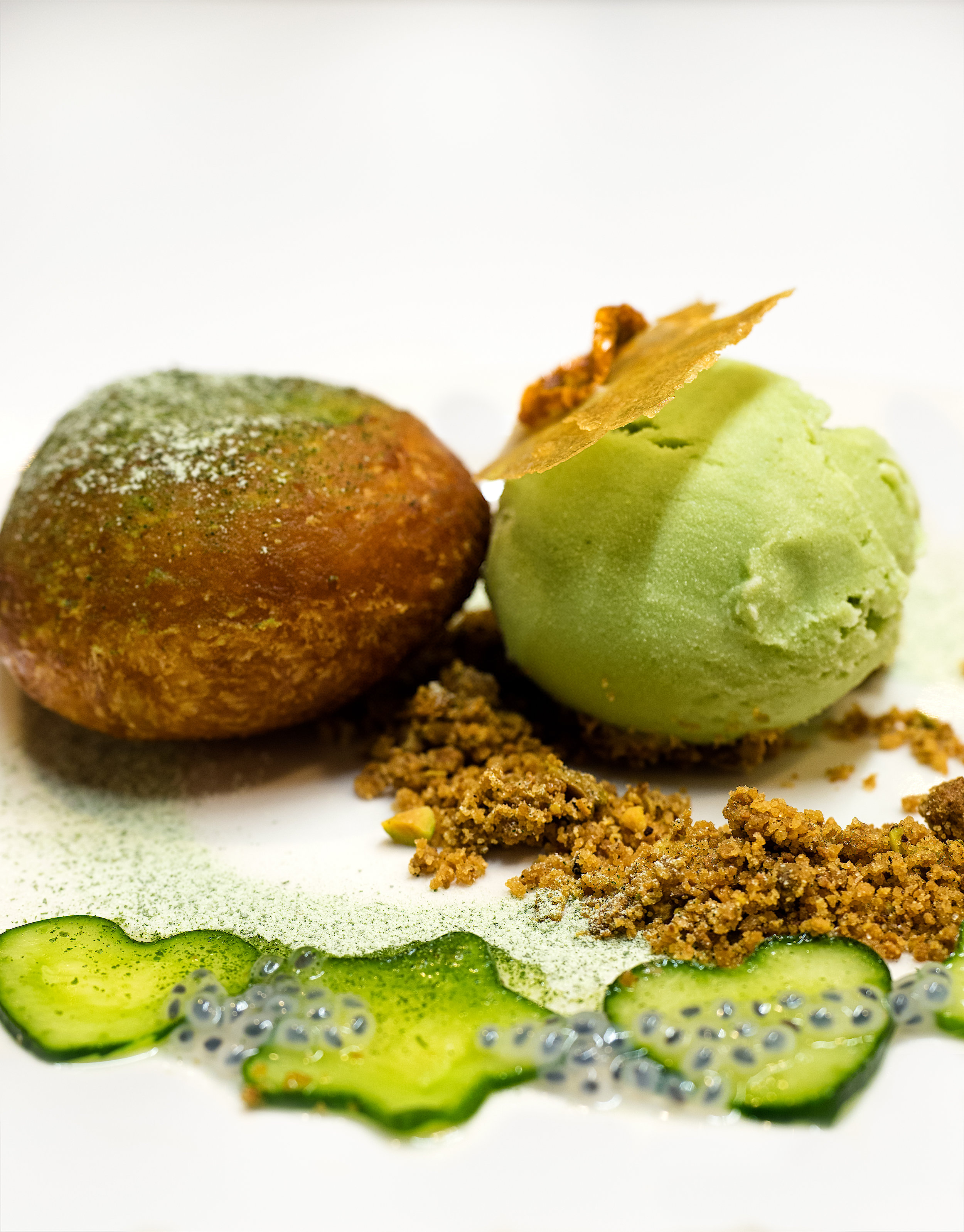 Musings by the Glass - Pig and the Lady Ho Farms Dinner - Malasada with Cucumber-Basil Gelato